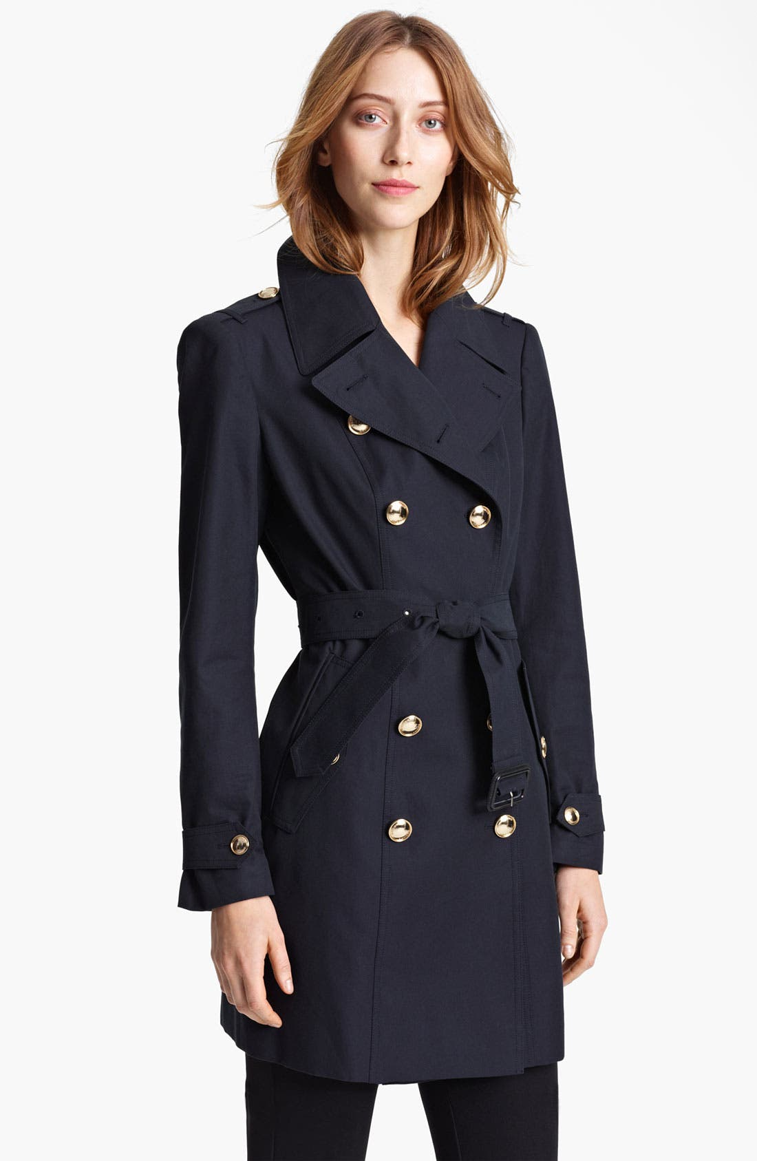 Gold Button Trench Coat, Main, color, 410