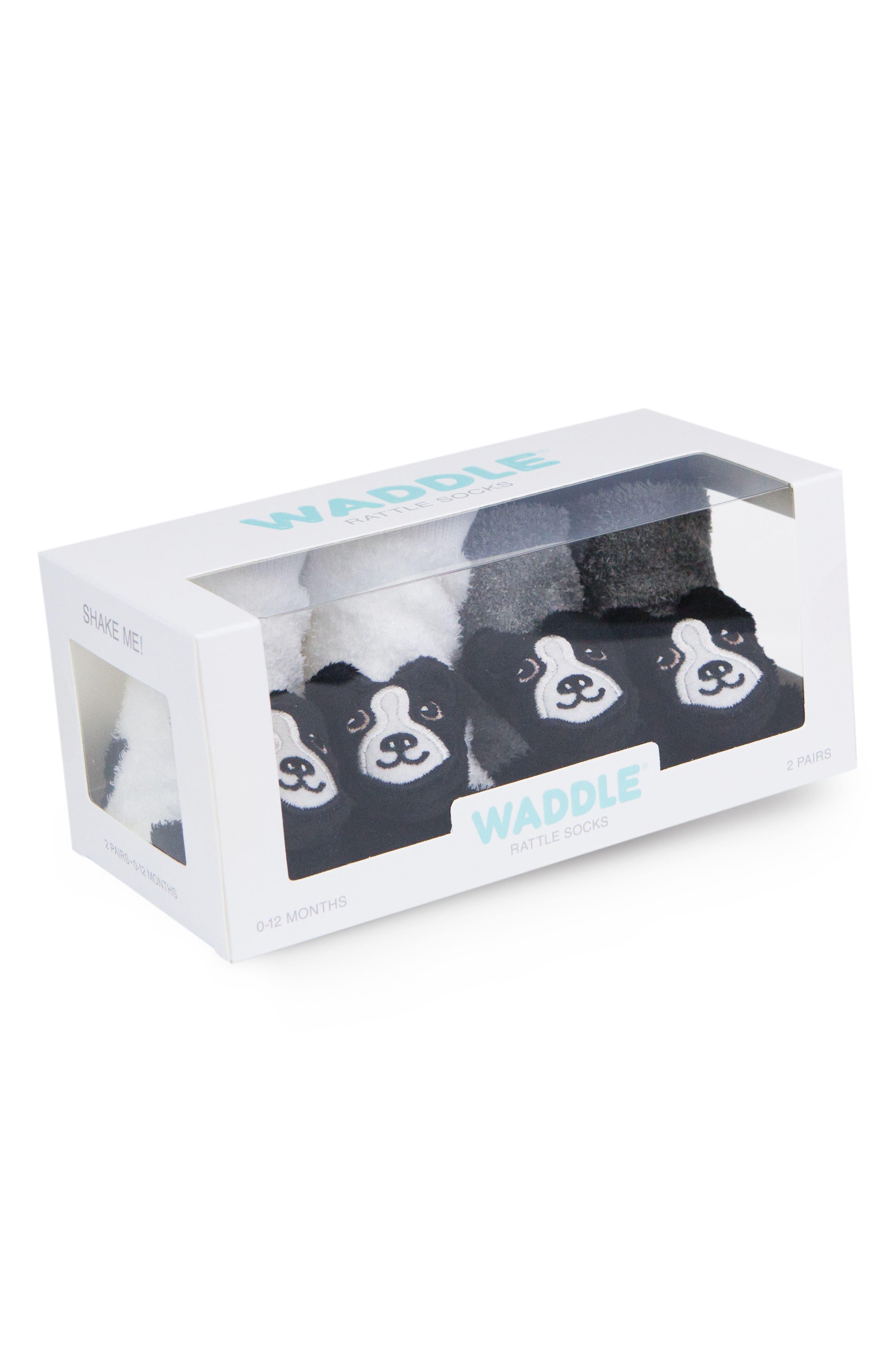 2-Pack Boston Terrier Rattle Socks,                             Alternate thumbnail 3, color,                             BLACK/ WHITE
