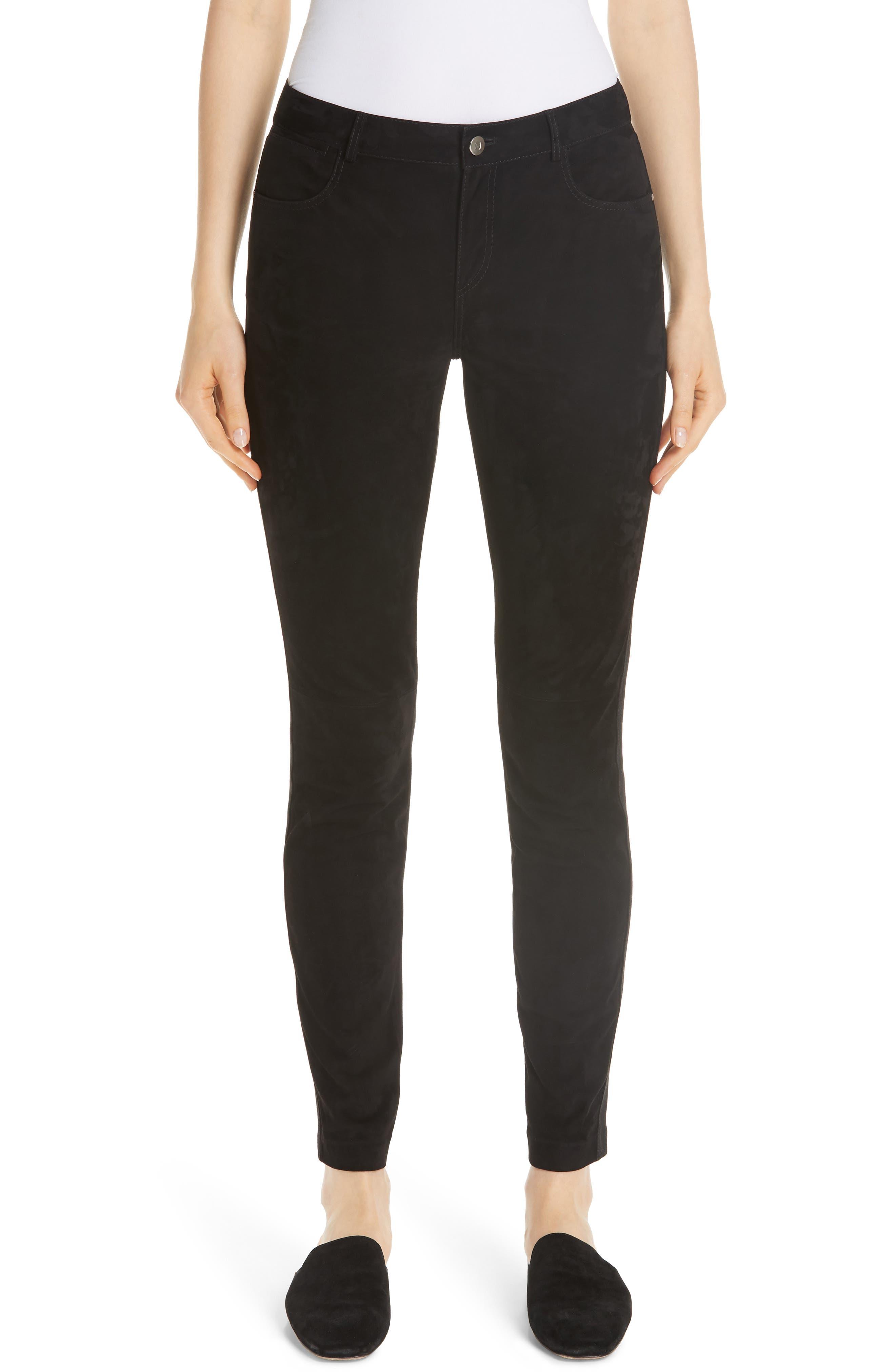 Mercer Skinny Suede & Ponte Pants in Black