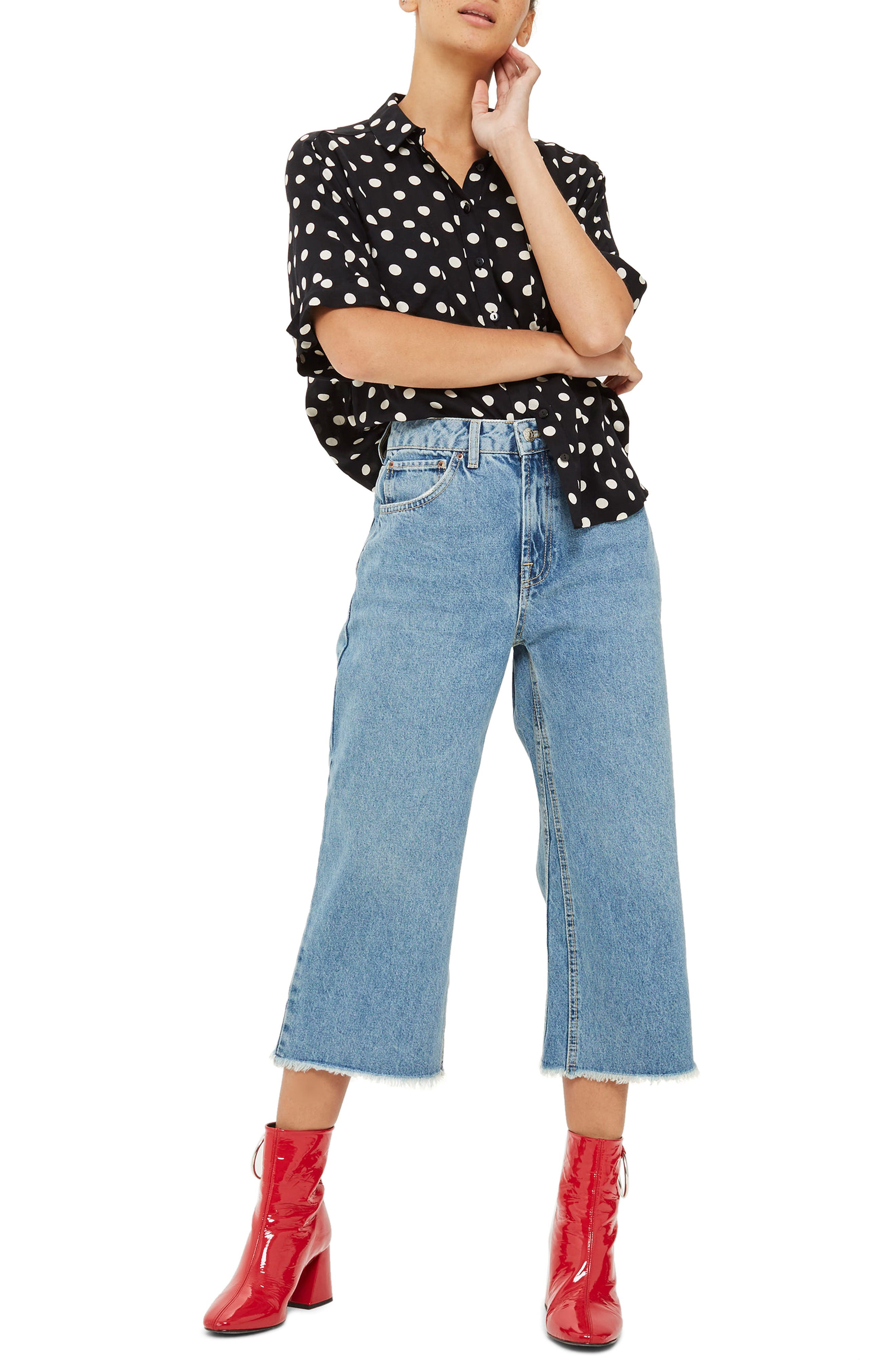 TOPSHOP,                             Petite Wide Leg Crop Jeans,                             Main thumbnail 1, color,                             420