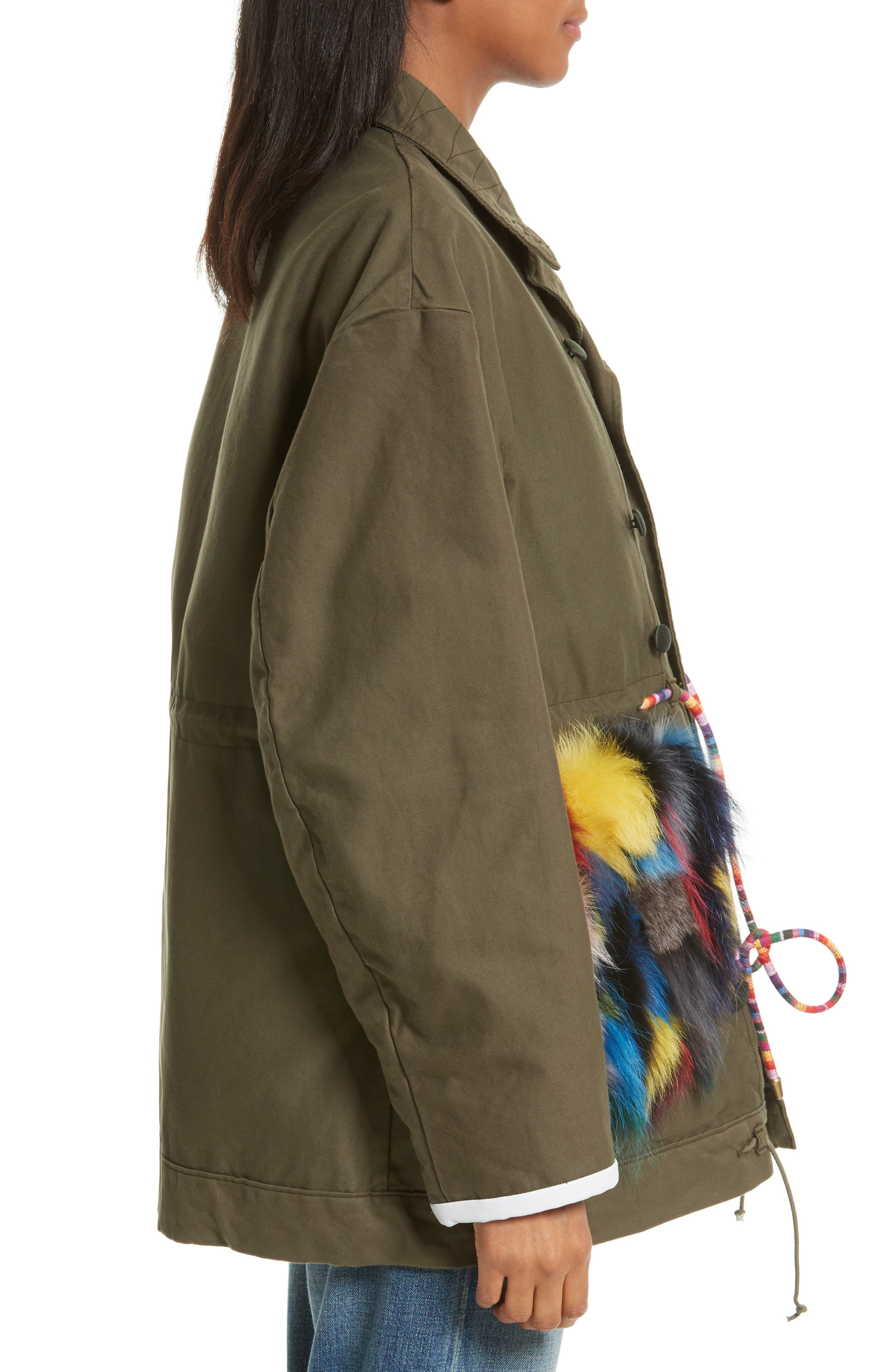 Reversible Vintage Army Coat with Genuine Fox Fur Trim,                             Alternate thumbnail 3, color,