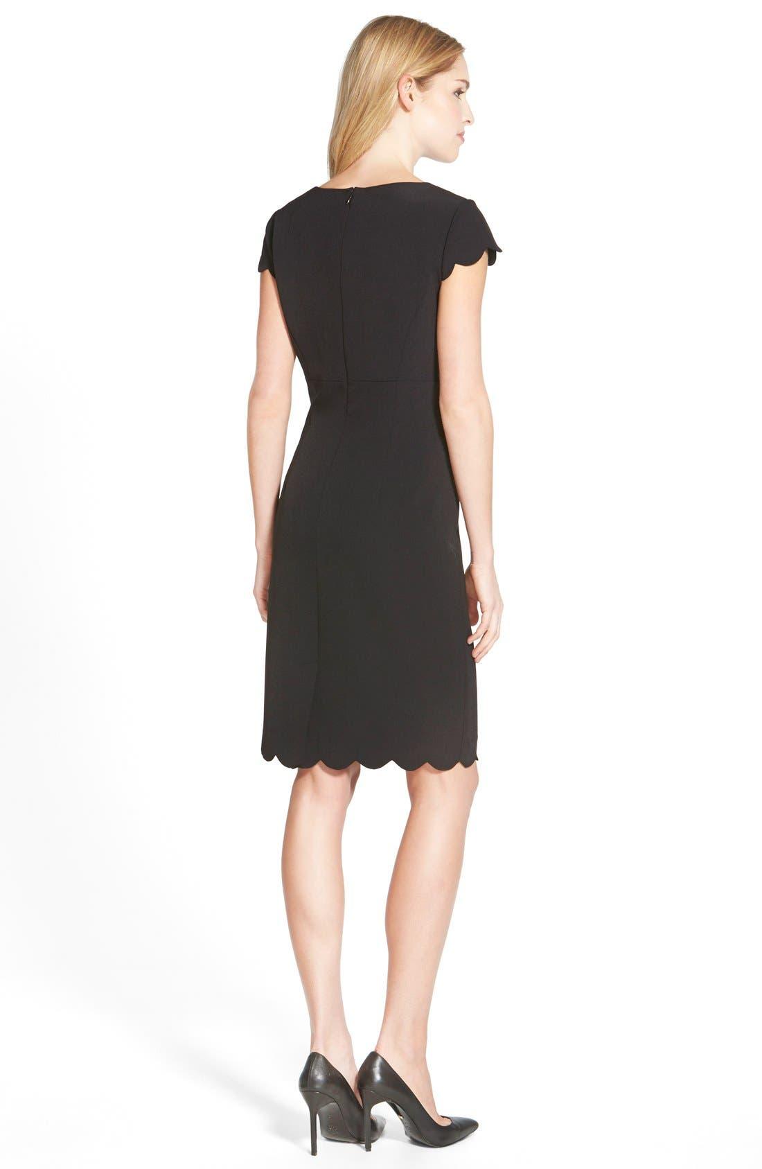 ADRIANNA PAPELL,                             Scalloped Crepe Sheath Dress,                             Alternate thumbnail 10, color,                             001