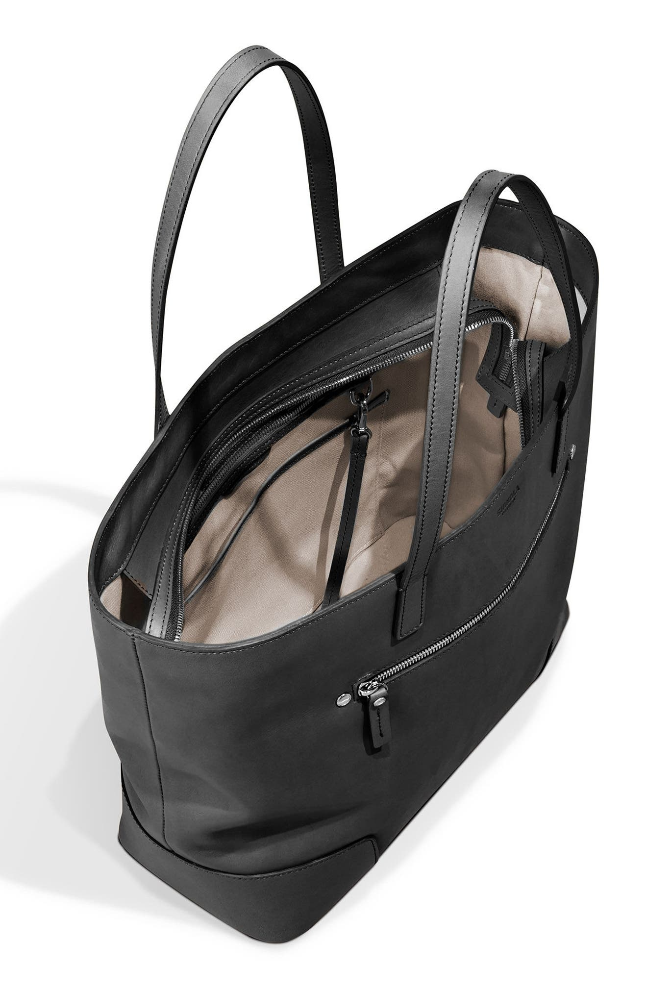 Leather Tote,                             Alternate thumbnail 3, color,                             001