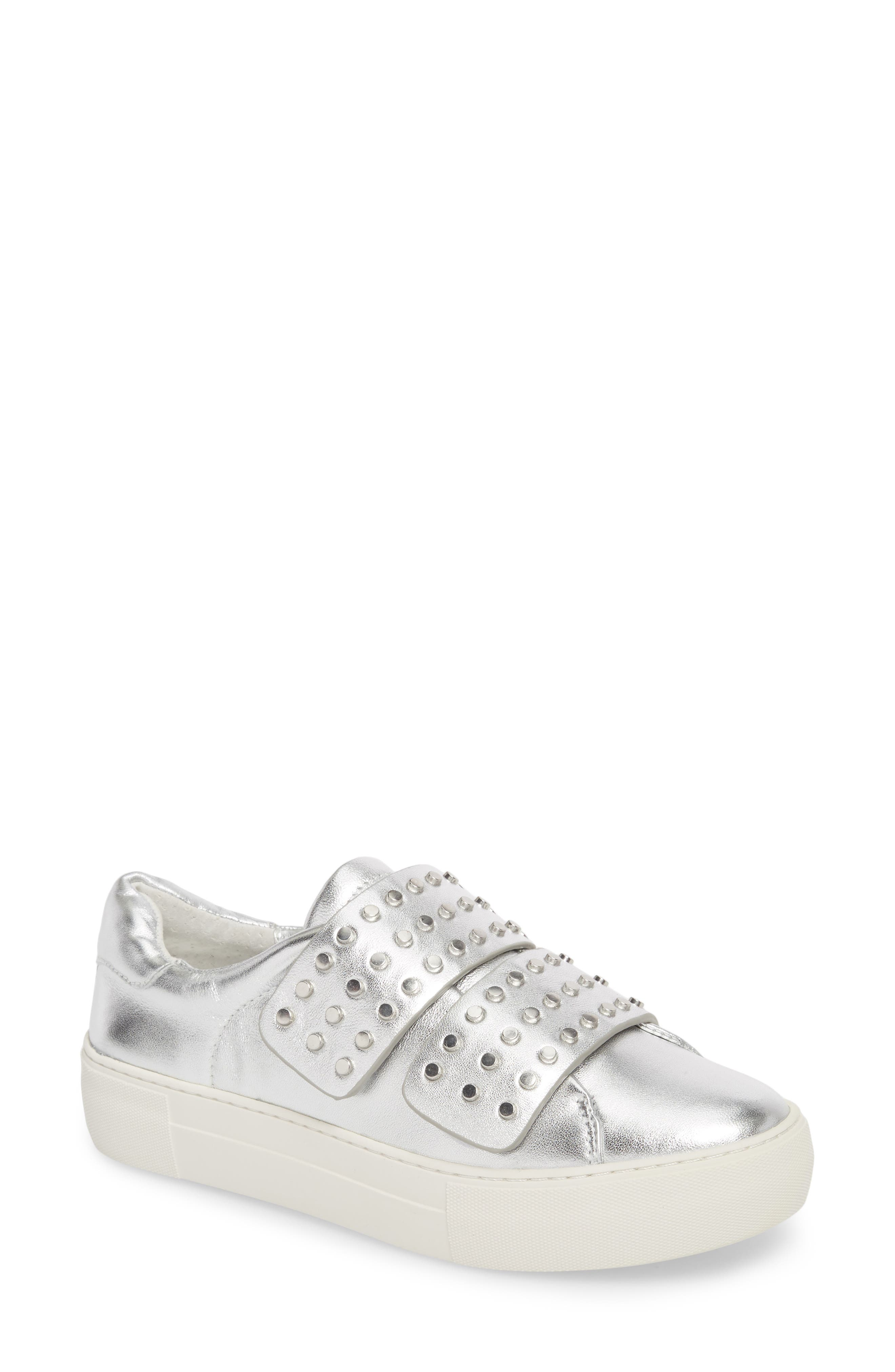 Accent Slip-On Sneaker,                             Main thumbnail 1, color,                             SILVER METALLIC LEATHER
