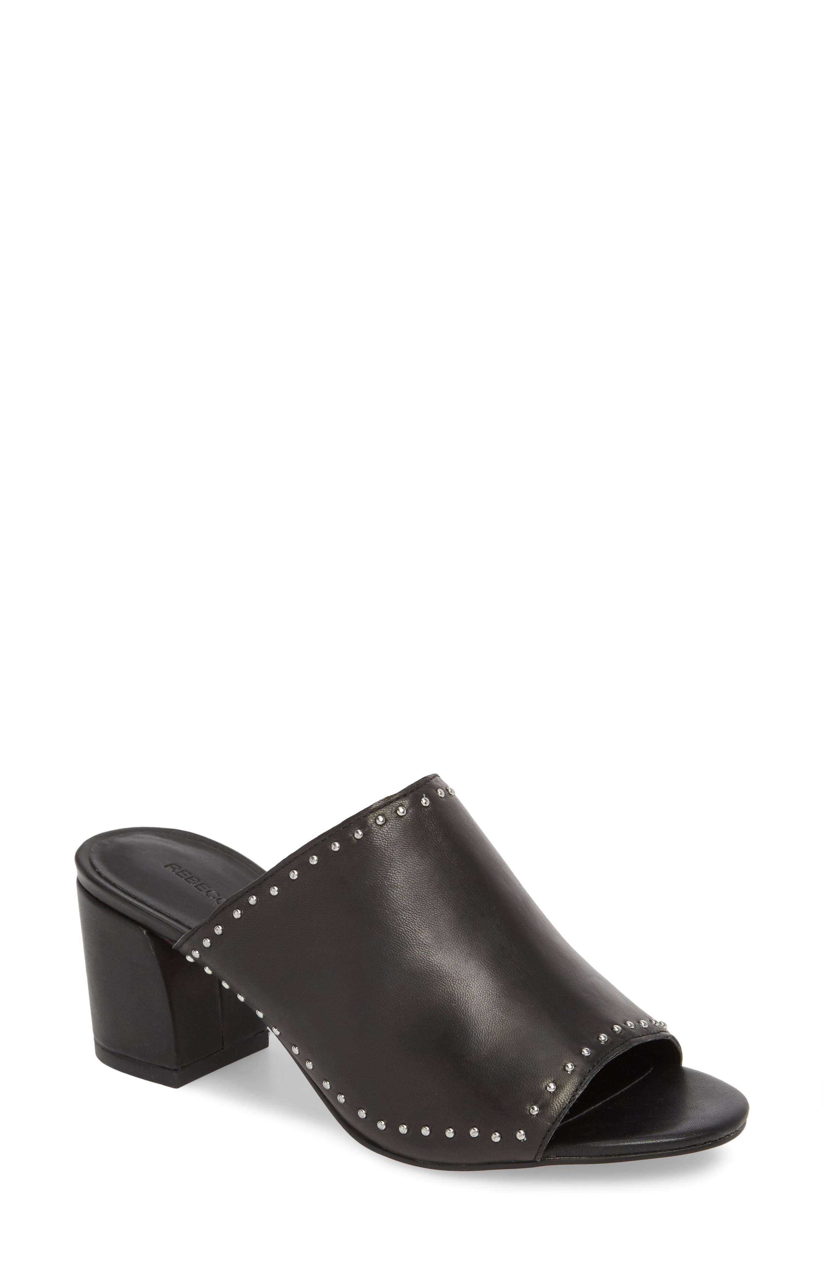 Lainy Studded Mule,                         Main,                         color, BLACK LEATHER