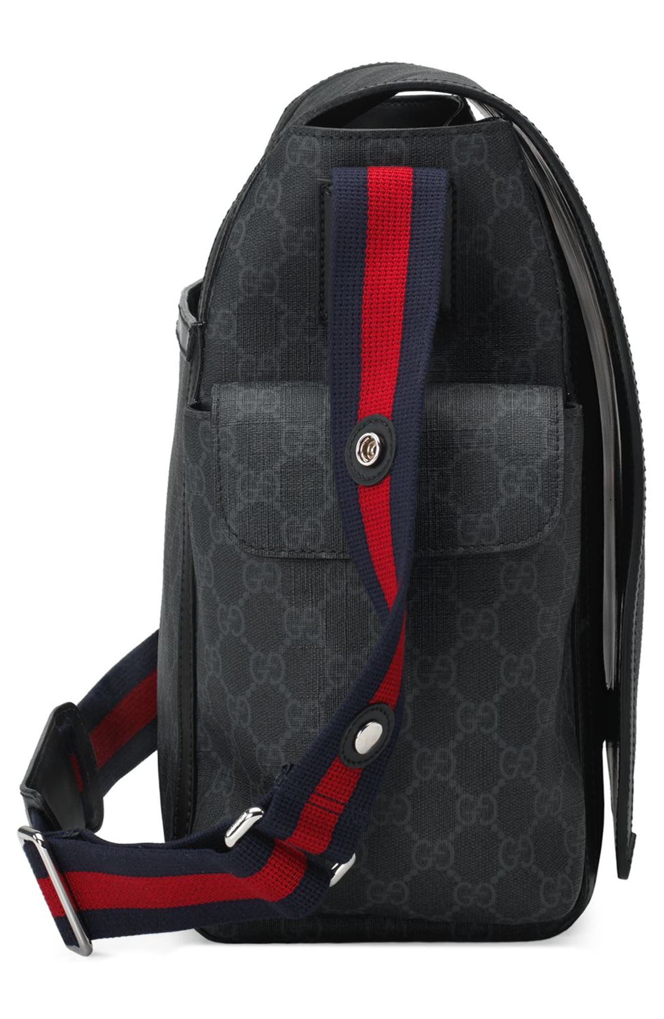 GG Supreme Canvas Diaper Bag,                             Alternate thumbnail 7, color,                             BLACK