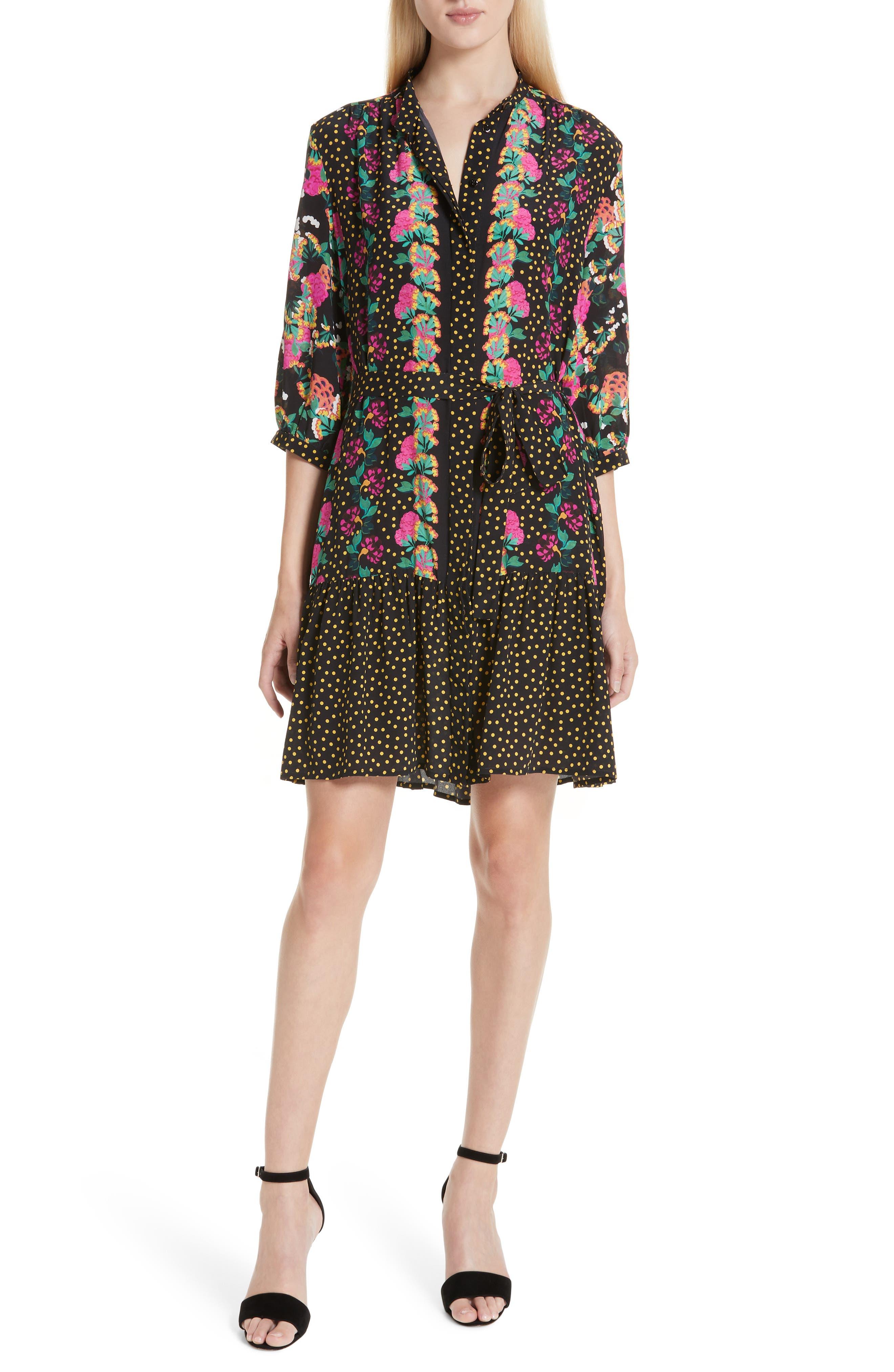 Tyra Print Silk Fit & Flare Dress,                             Main thumbnail 1, color,                             001