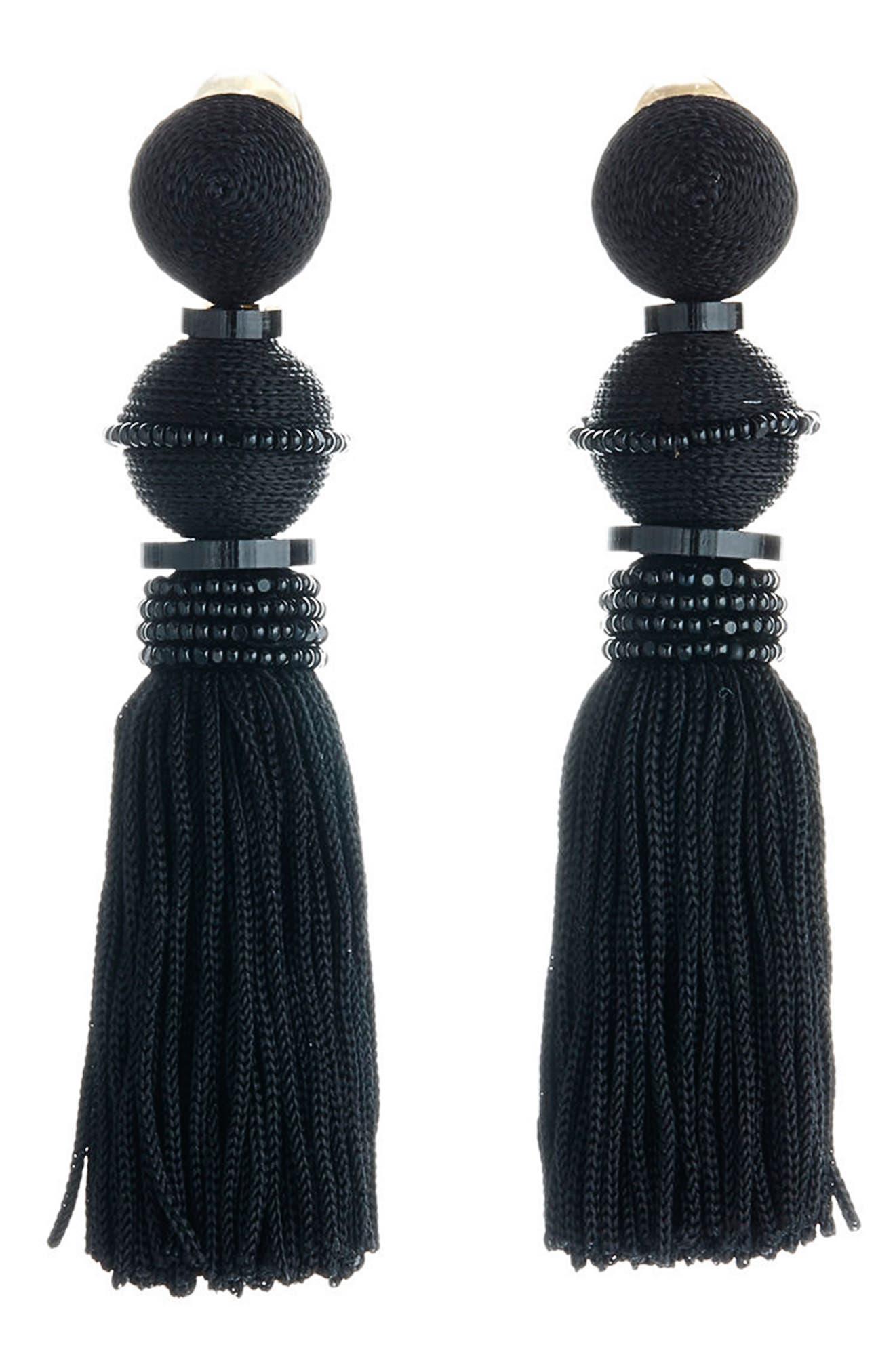 Clip Tassel Drop Earrings,                             Main thumbnail 1, color,                             001