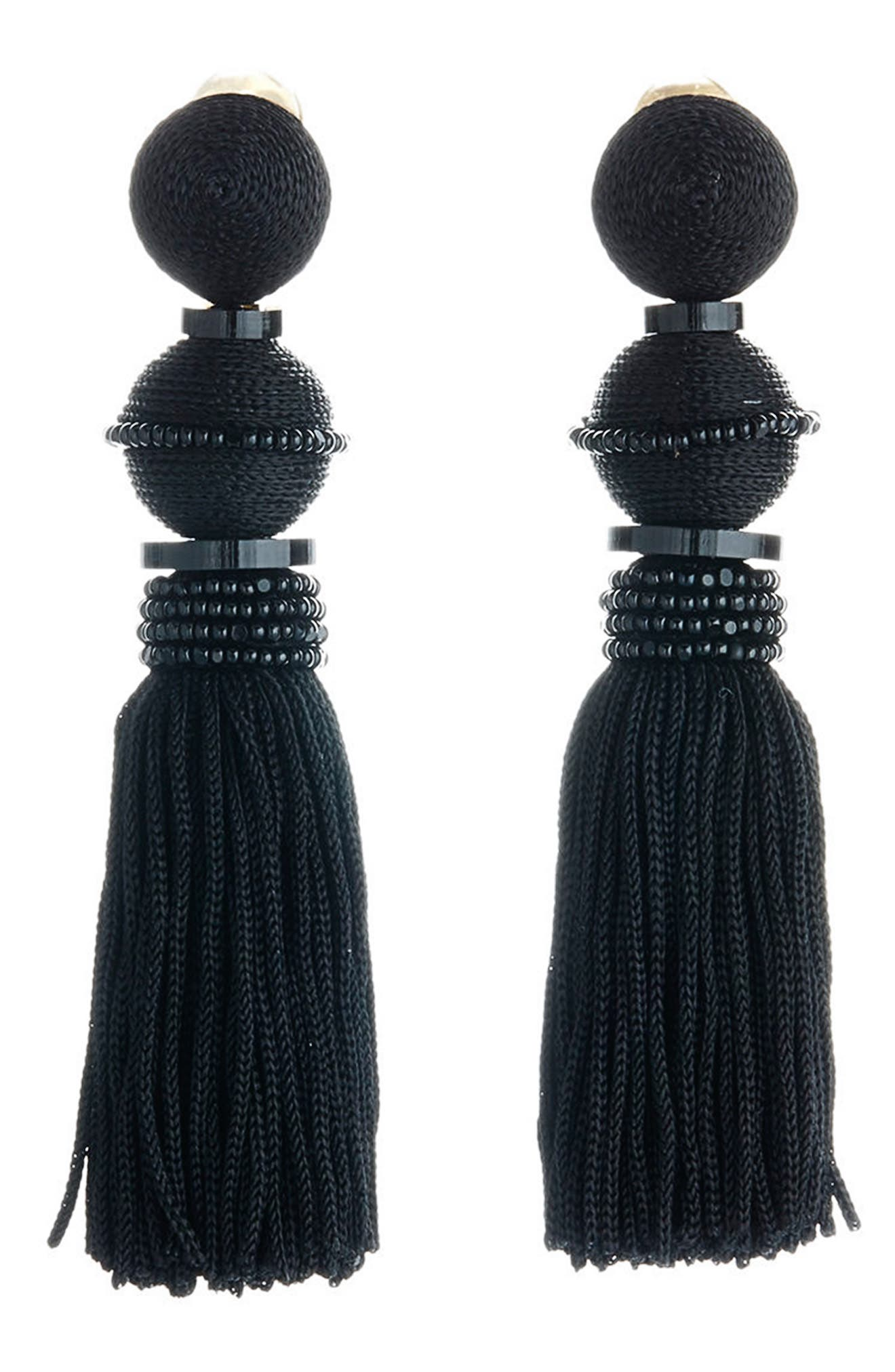 OSCAR DE LA RENTA,                             Clip Tassel Drop Earrings,                             Main thumbnail 1, color,                             001