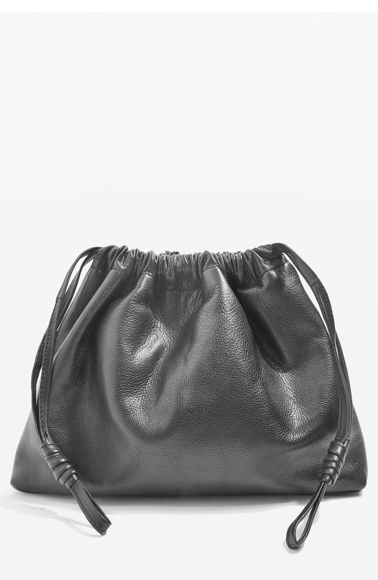 Premium Leather Drawstring Crossbody Bag,                             Main thumbnail 1, color,                             001