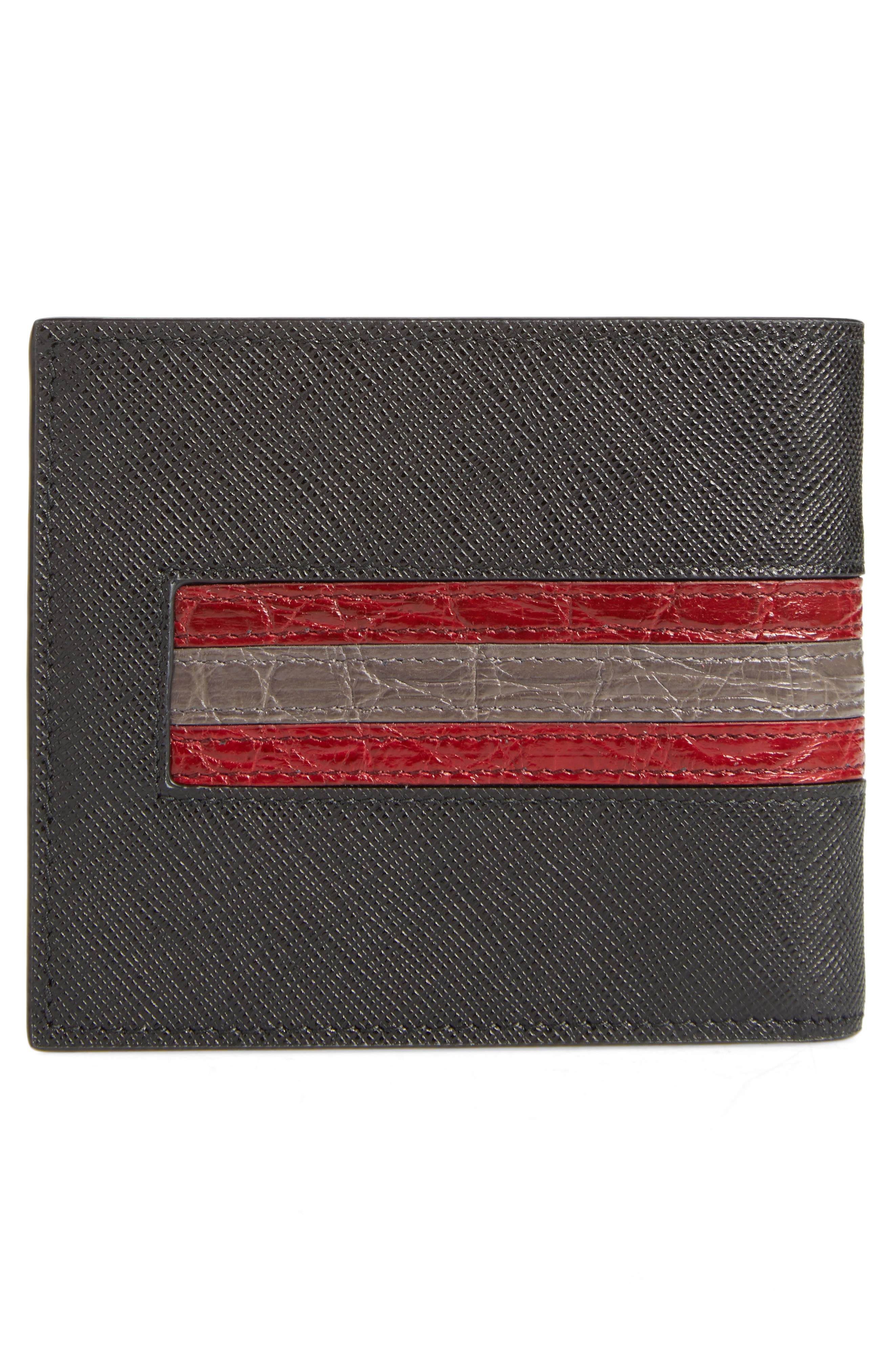 Saffiano and Crocodile Leather Wallet,                             Alternate thumbnail 3, color,                             004