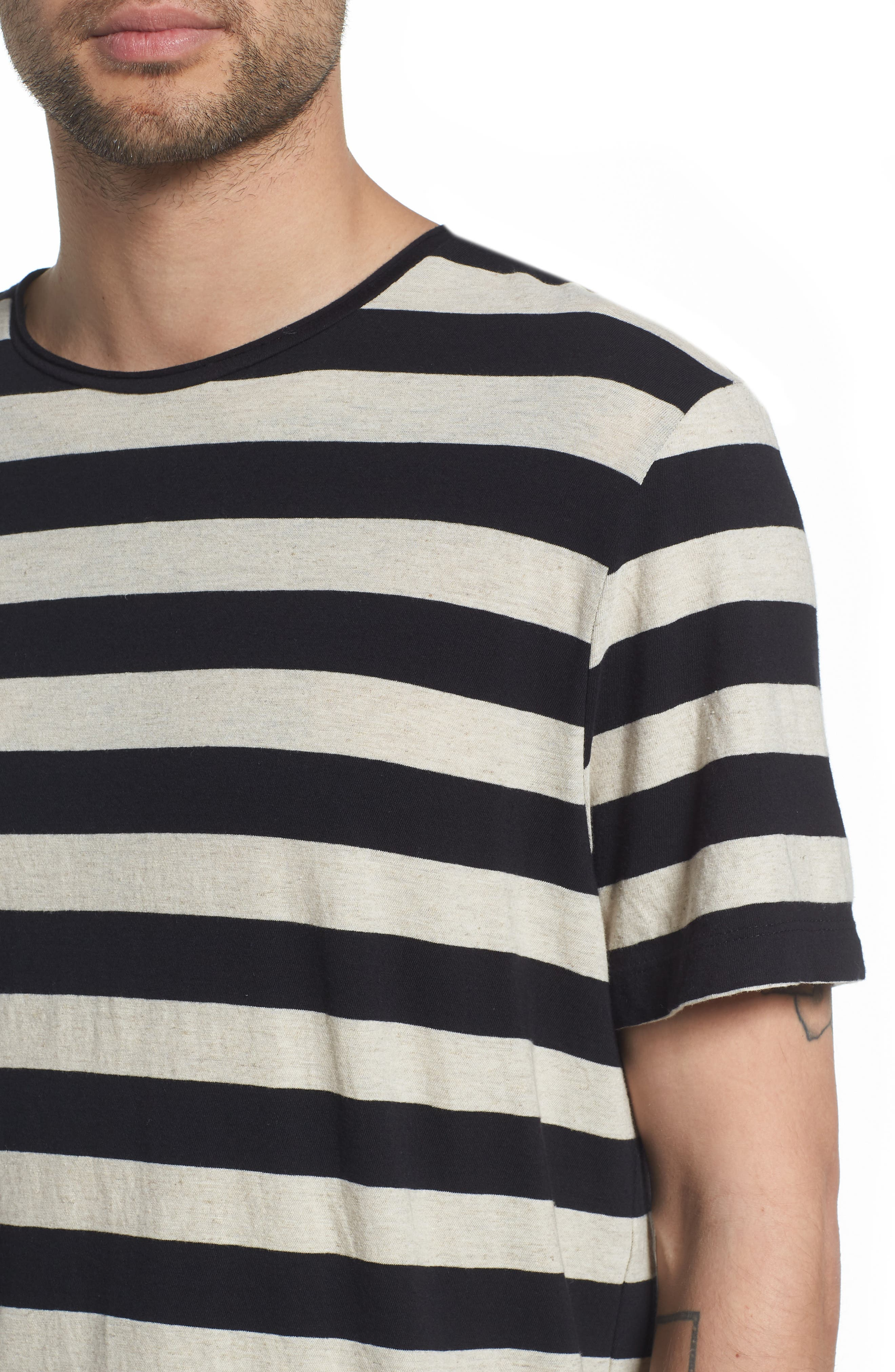 Stripe Regular Fit Shirt,                             Alternate thumbnail 4, color,                             LINEN/ BLACK