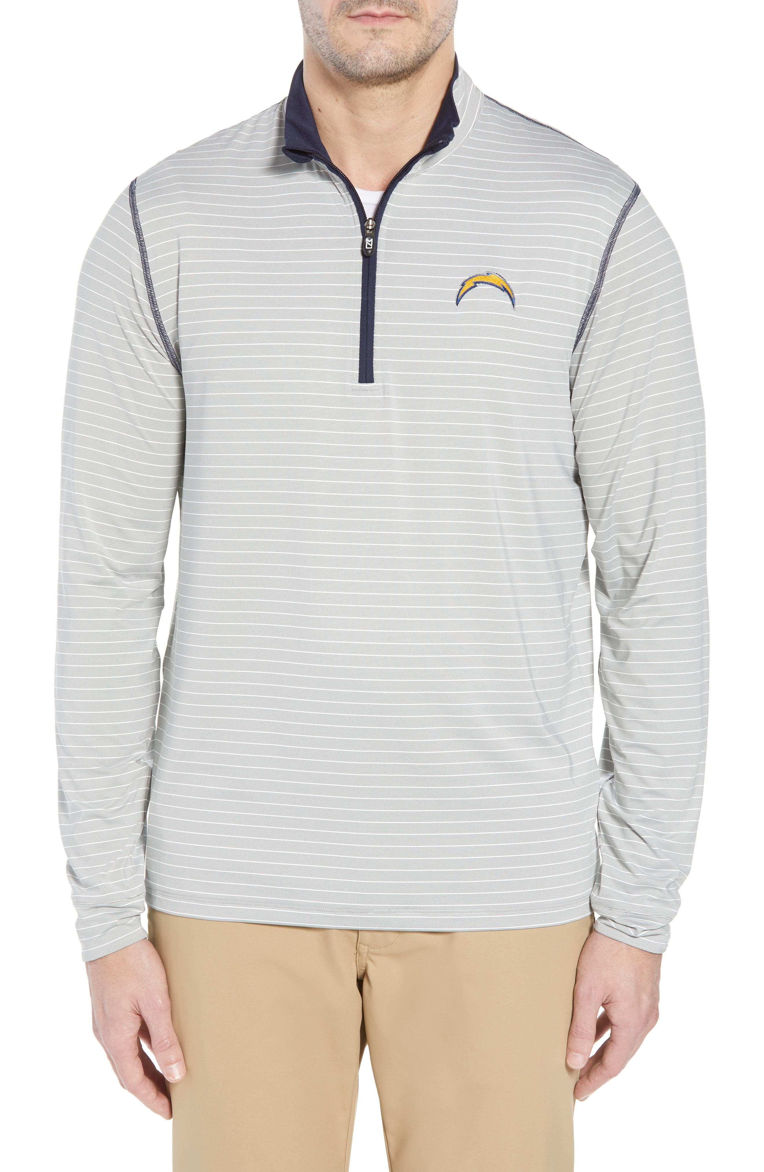 Meridian - Los Angeles Chargers Regular Fit Half Zip Pullover,                             Main thumbnail 1, color,                             NAVY