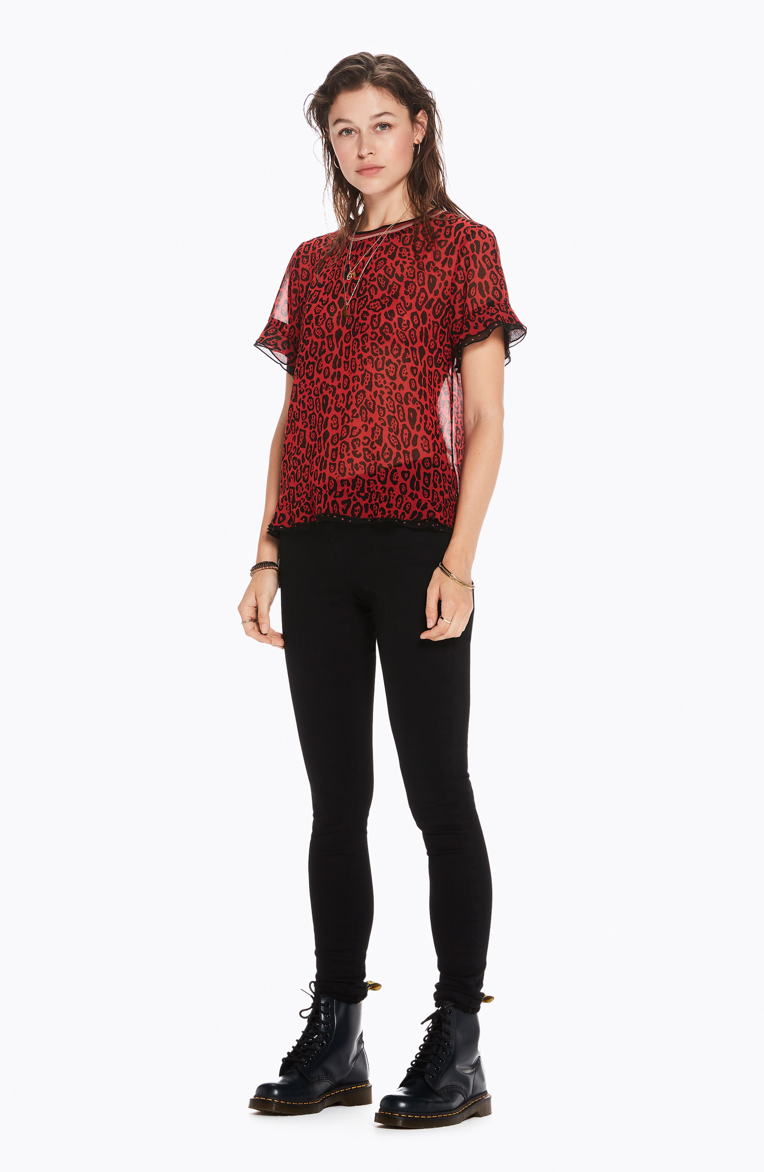 Animal Print Top,                             Alternate thumbnail 4, color,                             RED LEOPARD PRINT