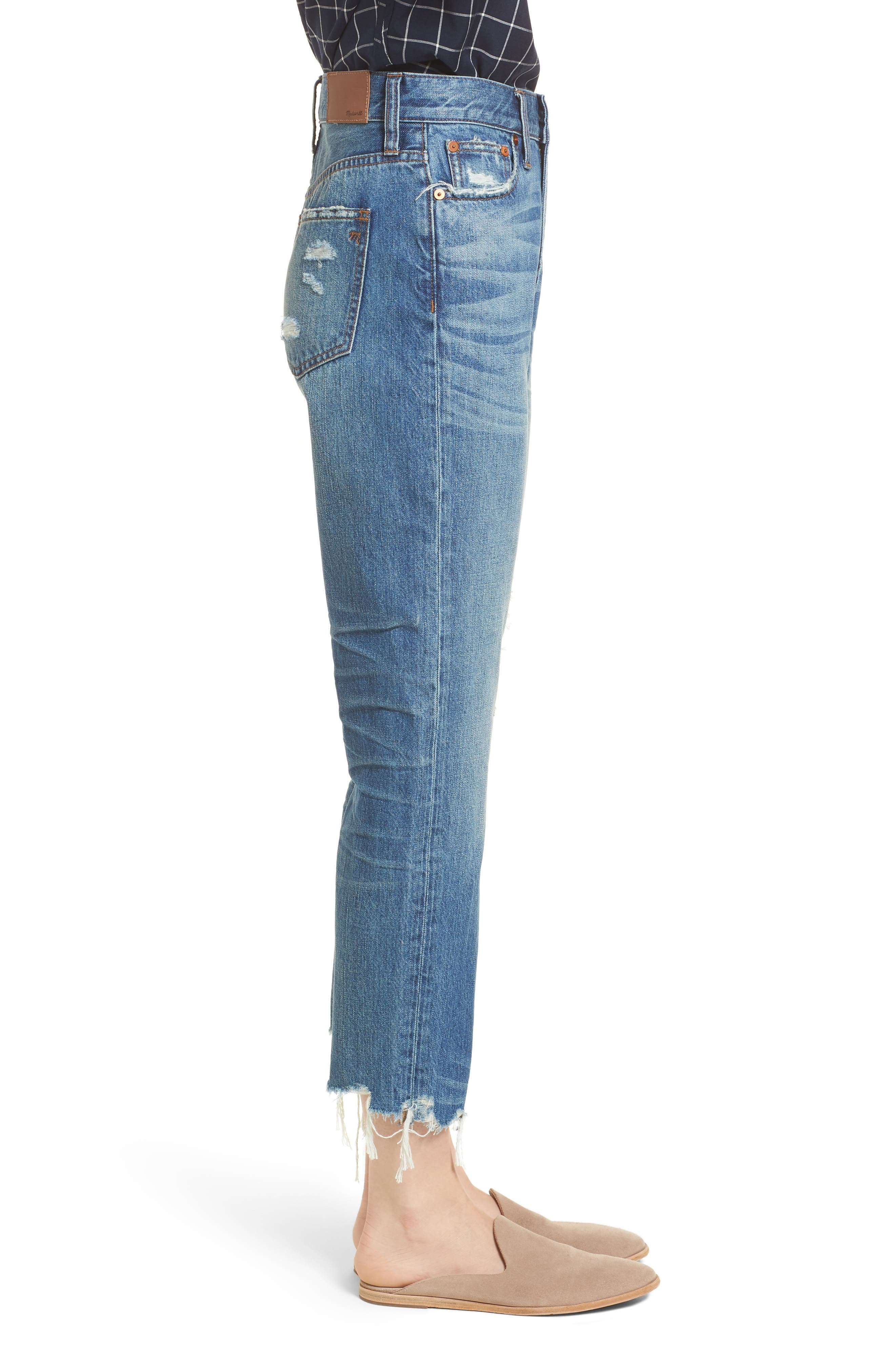 Perfect Summer Ripped High Waist Ankle Jeans,                             Alternate thumbnail 3, color,                             400