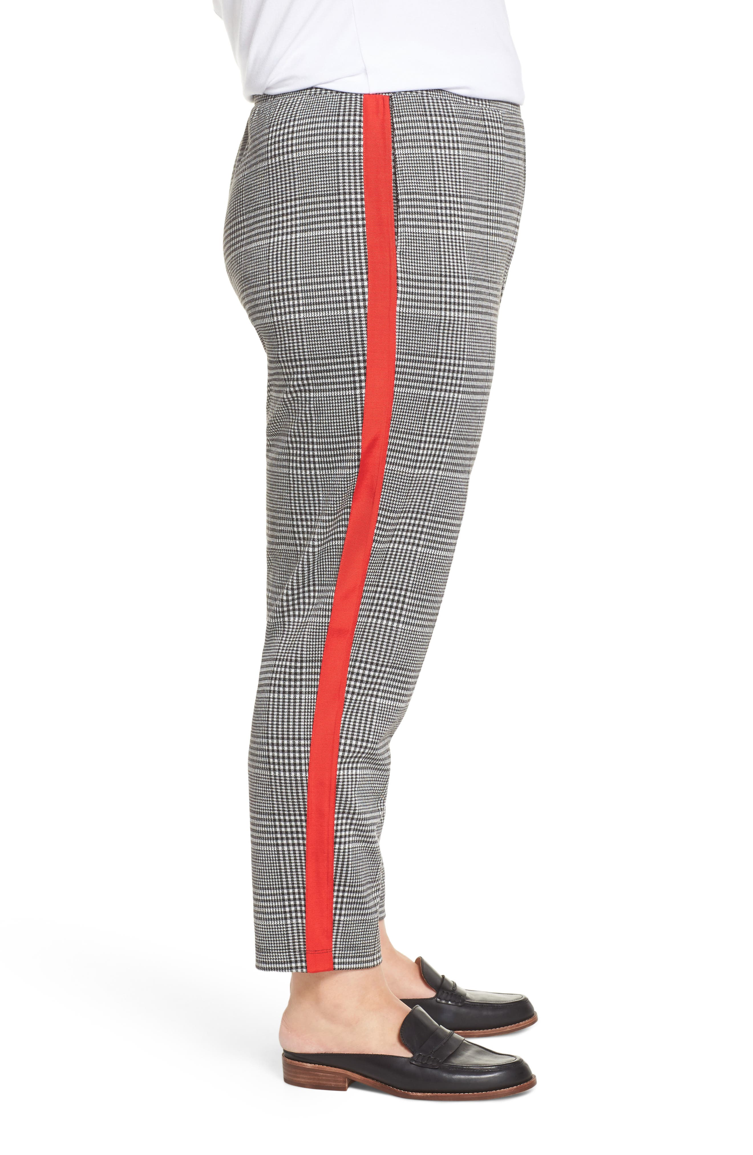 Side Stripe Glen Plaid Pants,                             Alternate thumbnail 3, color,                             BLACK GLEN CHECK