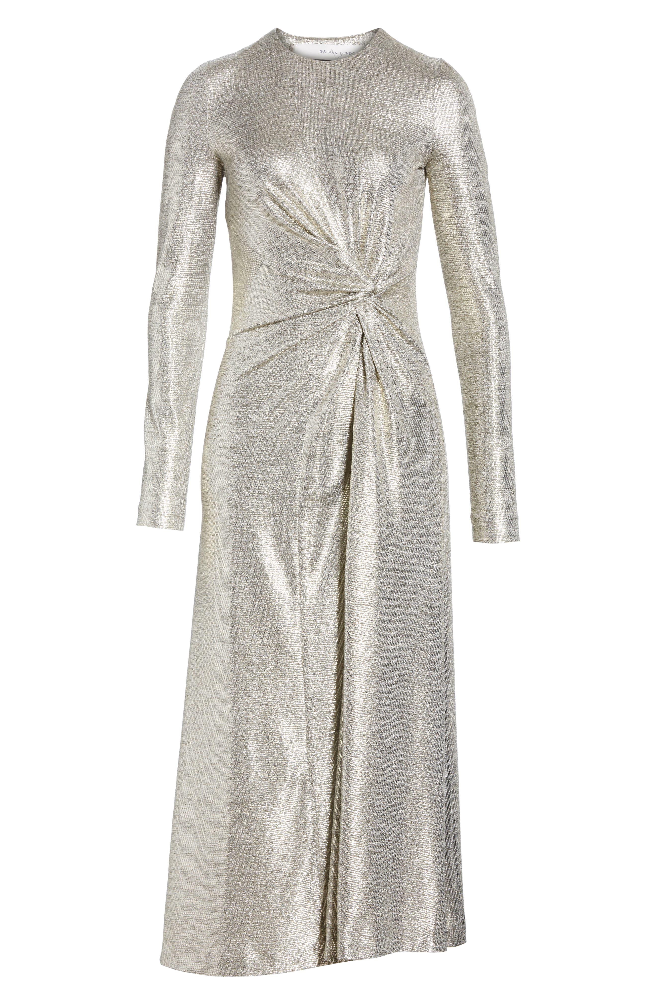 Twist Detail Metallic Dress,                             Alternate thumbnail 7, color,                             PLATINUM