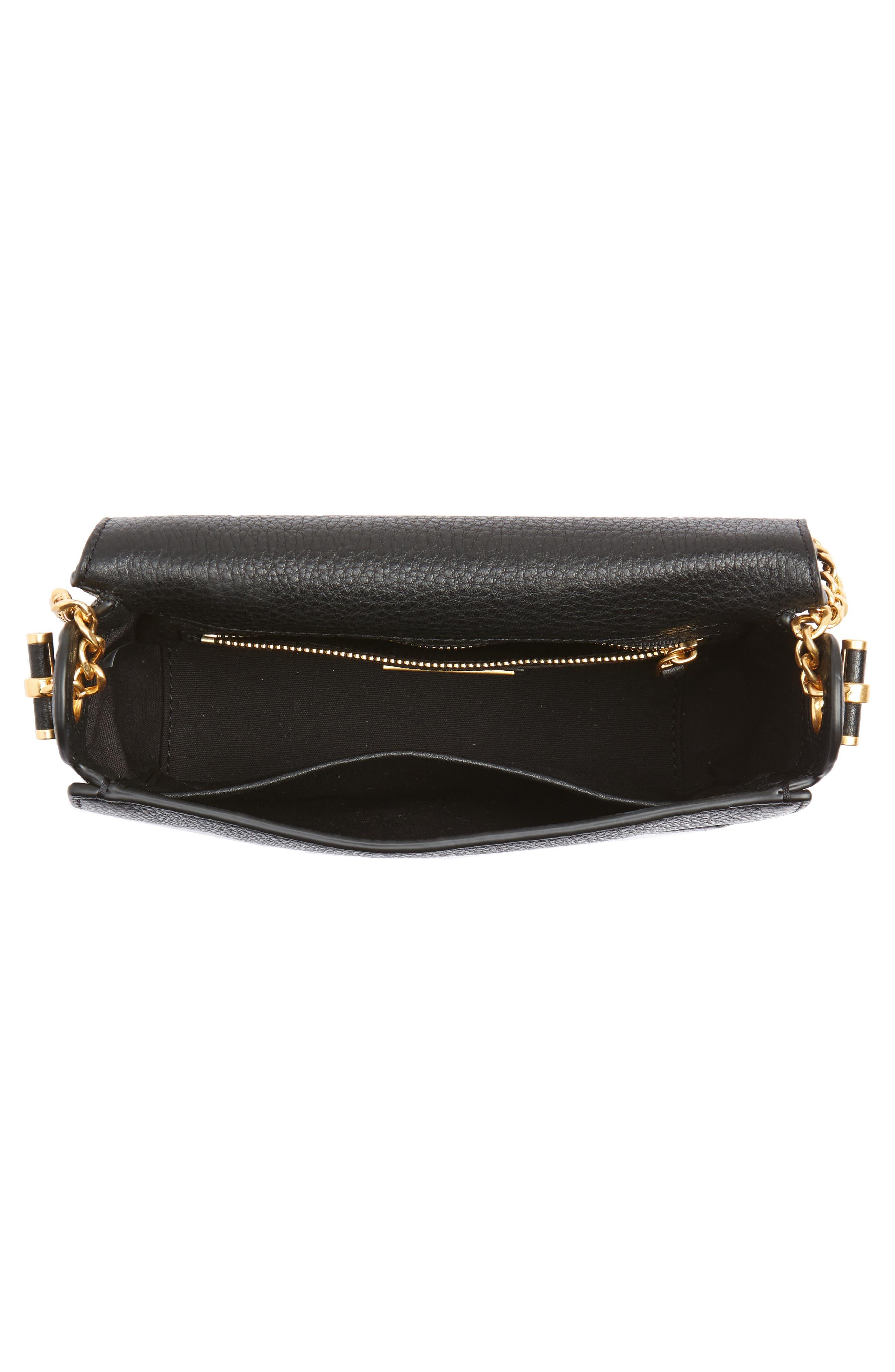 Chelsea Leather Crossbody Bag,                             Alternate thumbnail 4, color,                             BLACK CORE