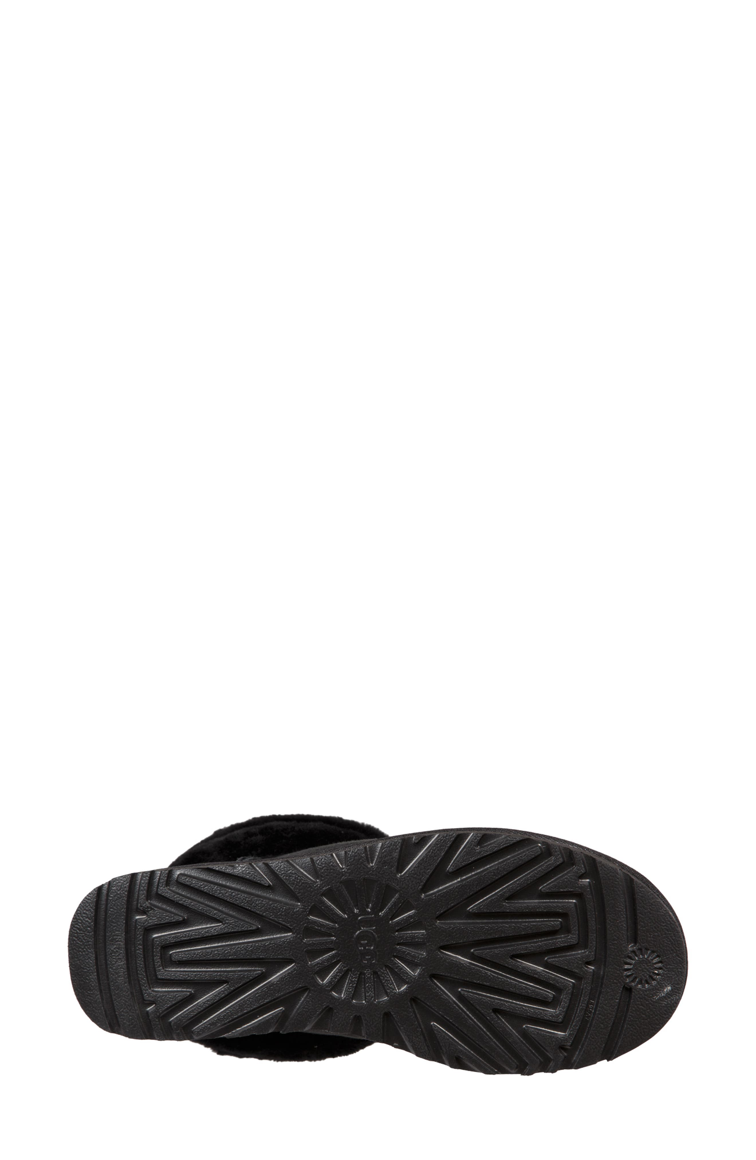 Classic Mini Fluff Quilted Boot,                             Alternate thumbnail 5, color,                             BLACK SUEDE