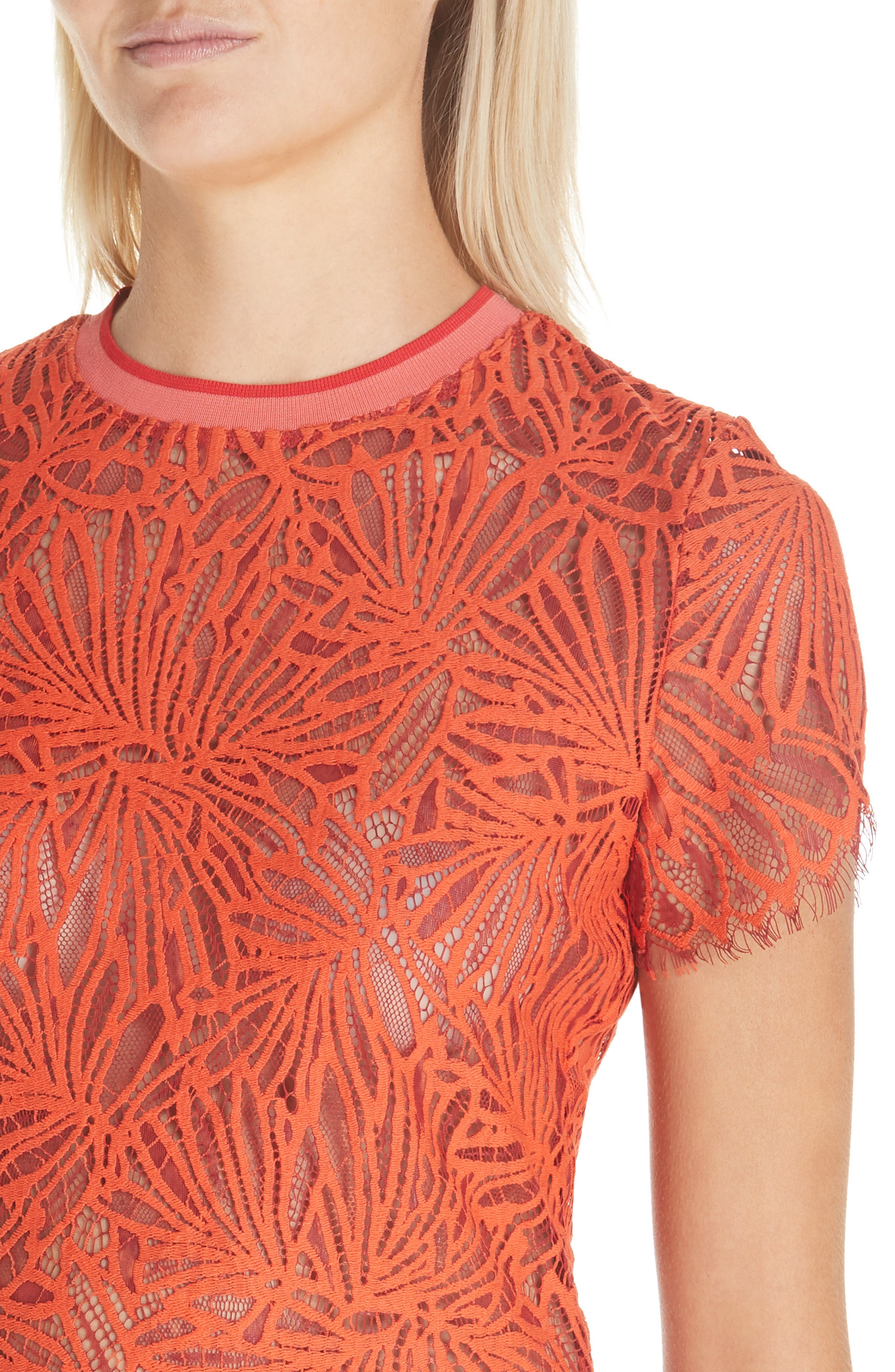 PROENZA SCHOULER,                             Scalloped Stretch Lace Top,                             Alternate thumbnail 4, color,                             TANGERINE