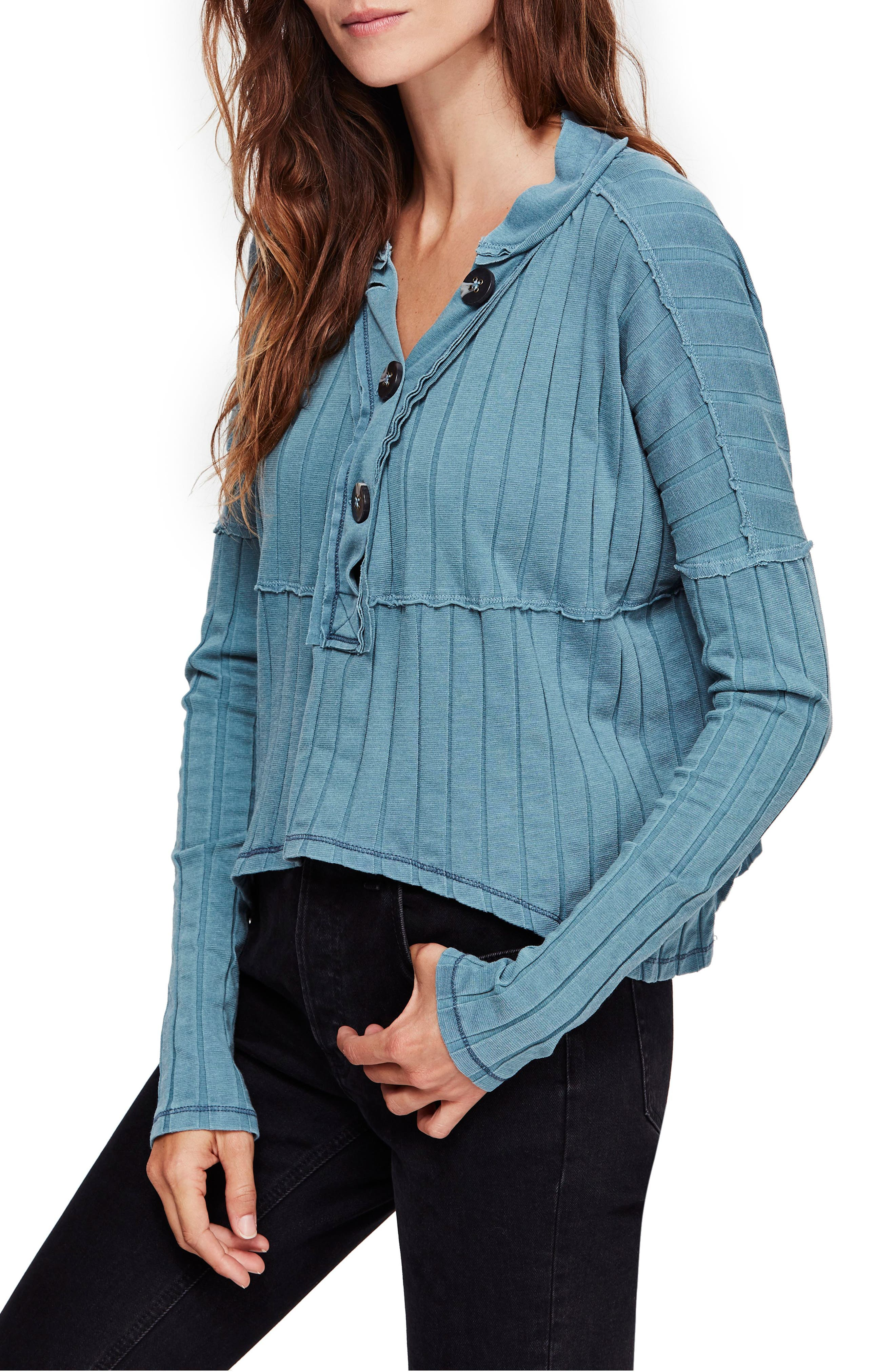 In The Mix Knit Top, Main, color, OCEAN BLUE