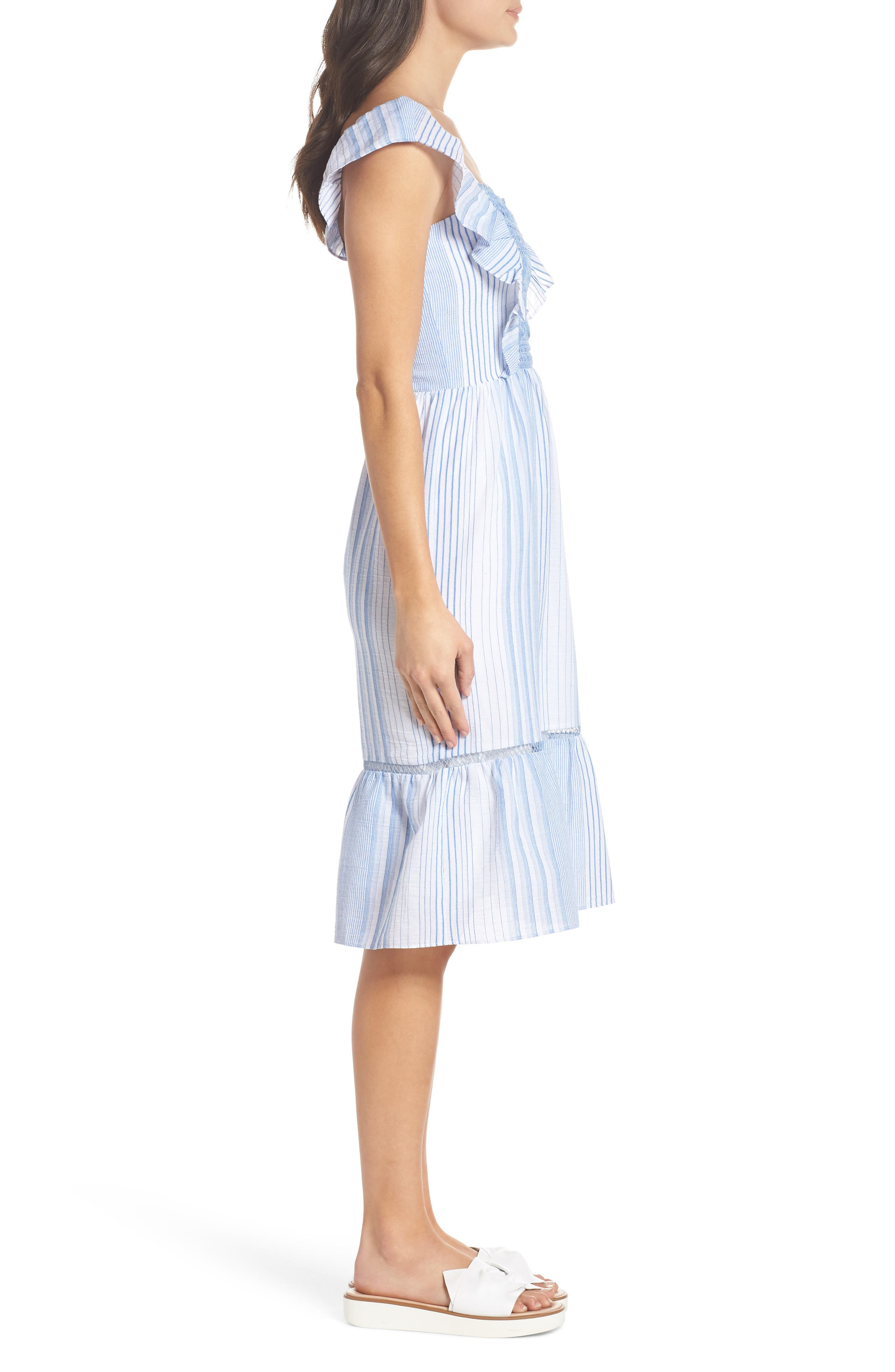 Spencer Stripe Ruffle & Lace Sundress,                             Alternate thumbnail 3, color,                             400
