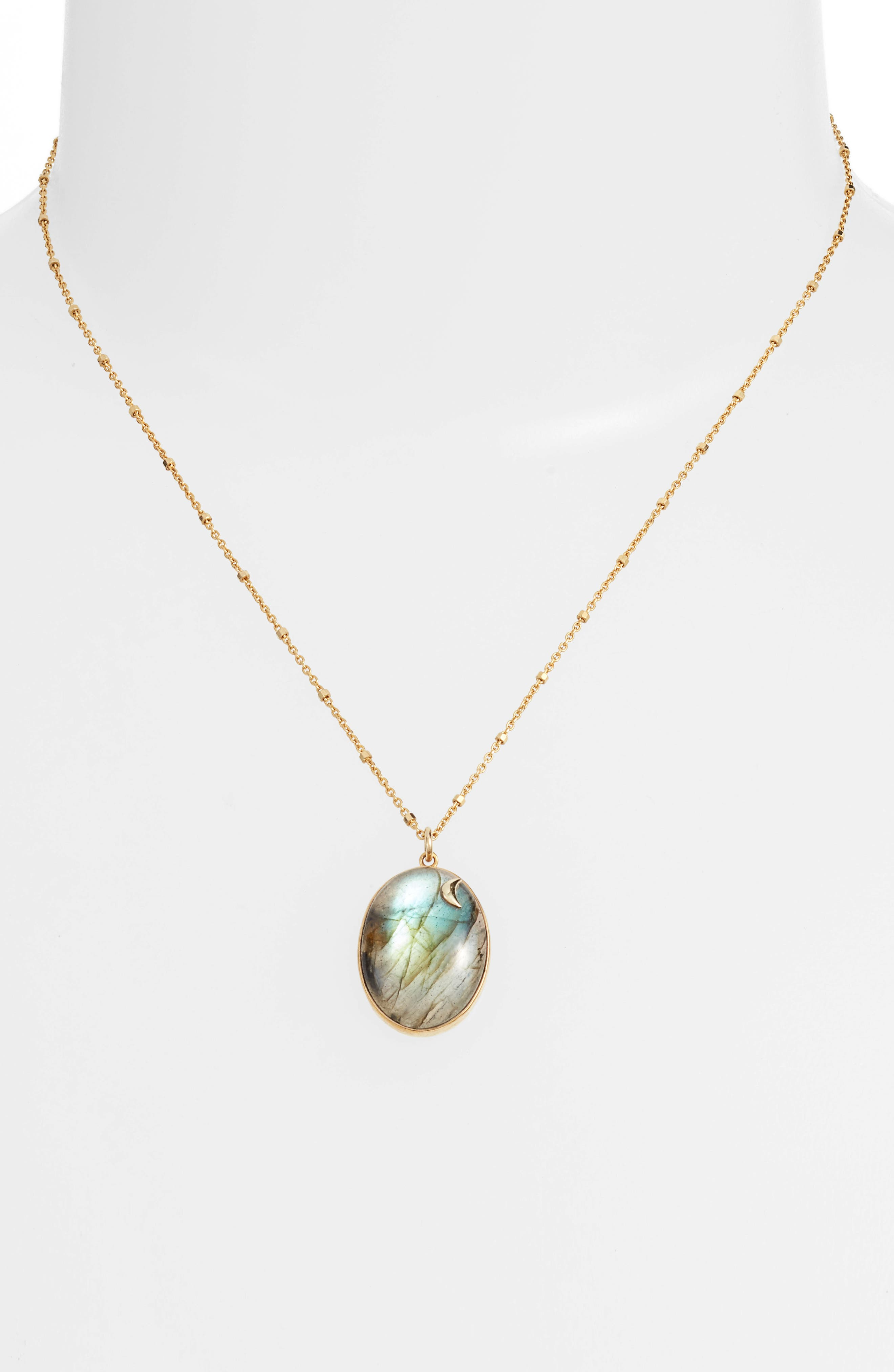 ARGENTO VIVO,                             Moon Labradorite Pendant Necklace,                             Alternate thumbnail 3, color,                             710