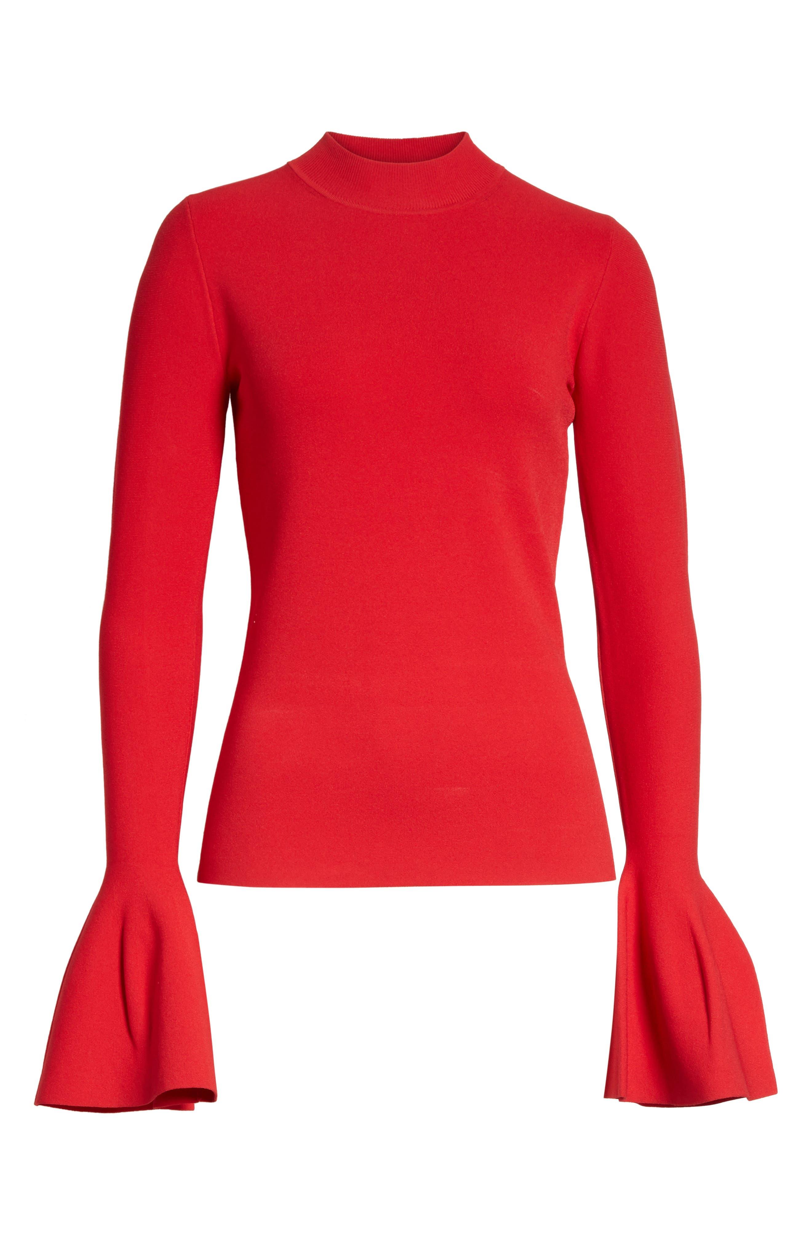 Diane von Furstenberg Flutter Sleeve Mock Neck Sweater,                             Alternate thumbnail 12, color,