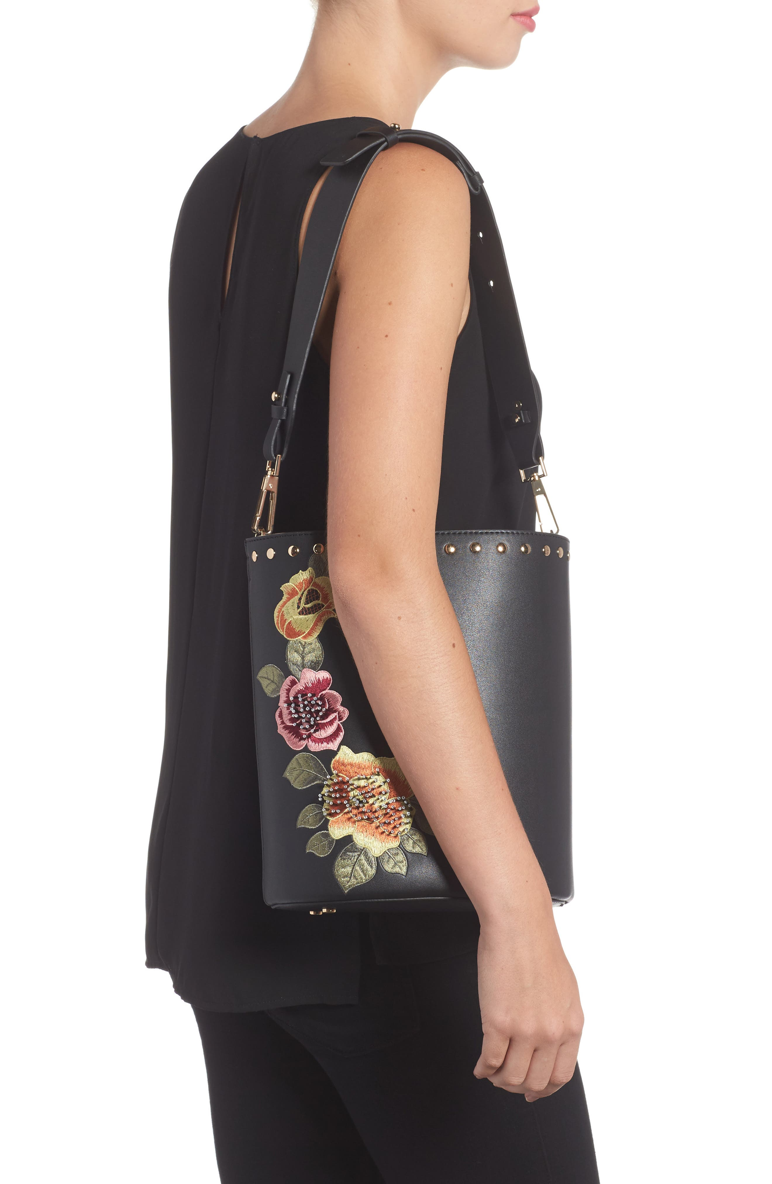 Sadie Floral Faux Leather Bucket Bag,                             Alternate thumbnail 2, color,