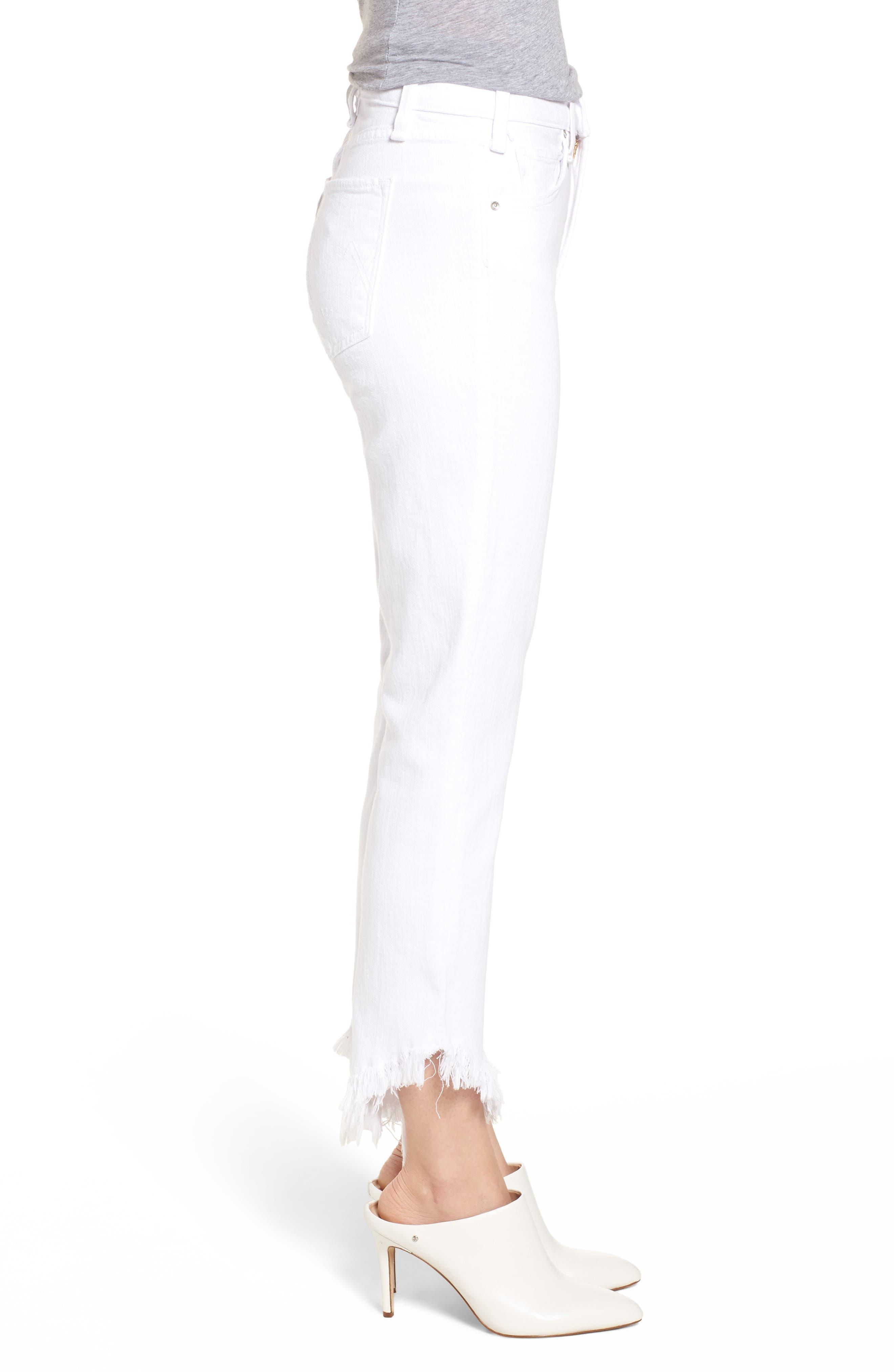 Valletta High Waist Crop Straight Leg Jeans,                             Alternate thumbnail 3, color,                             100