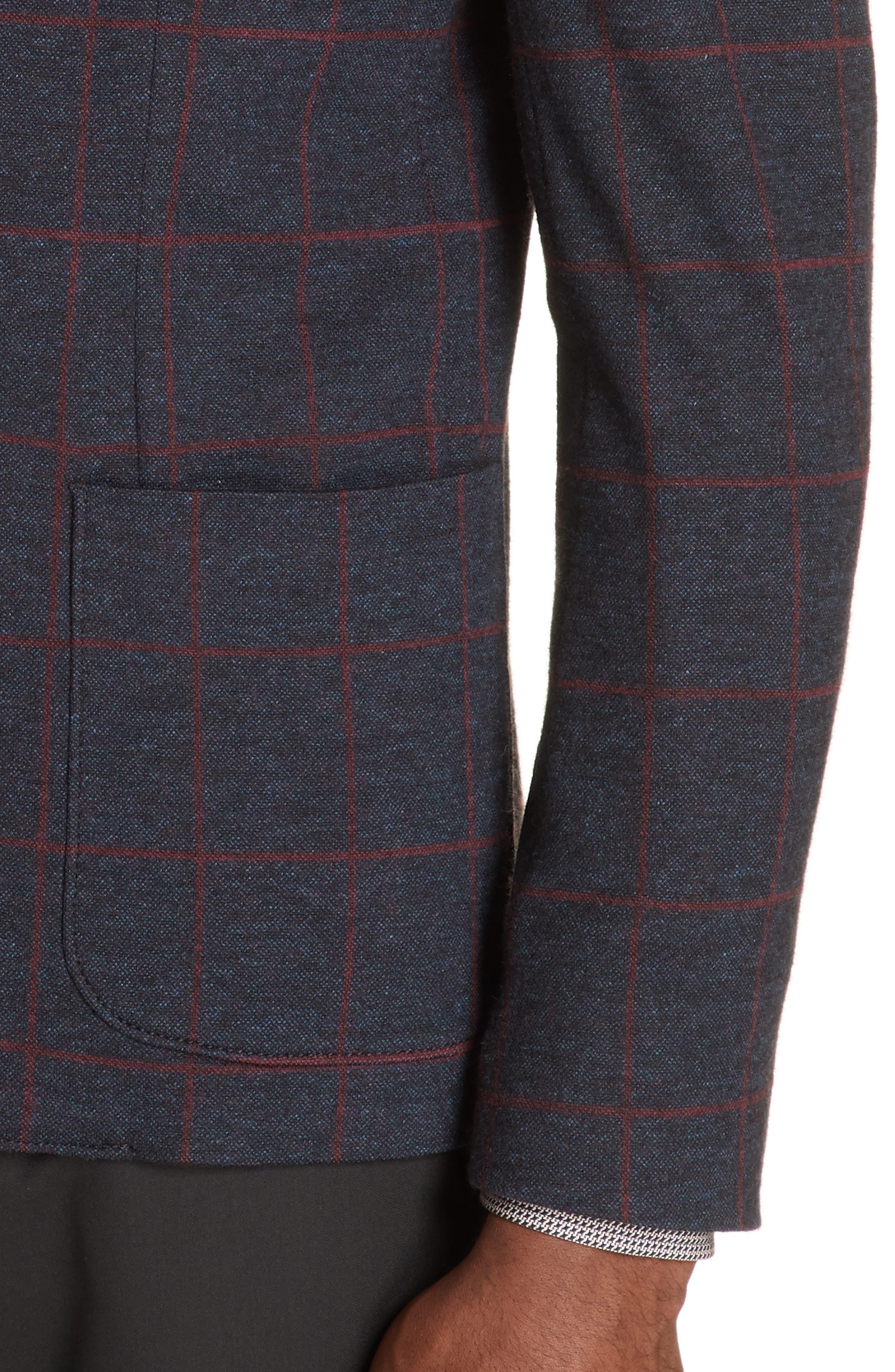 Trim Fit Windowpane Cotton Blend Sport Coat,                             Alternate thumbnail 4, color,                             BLUE MULTI