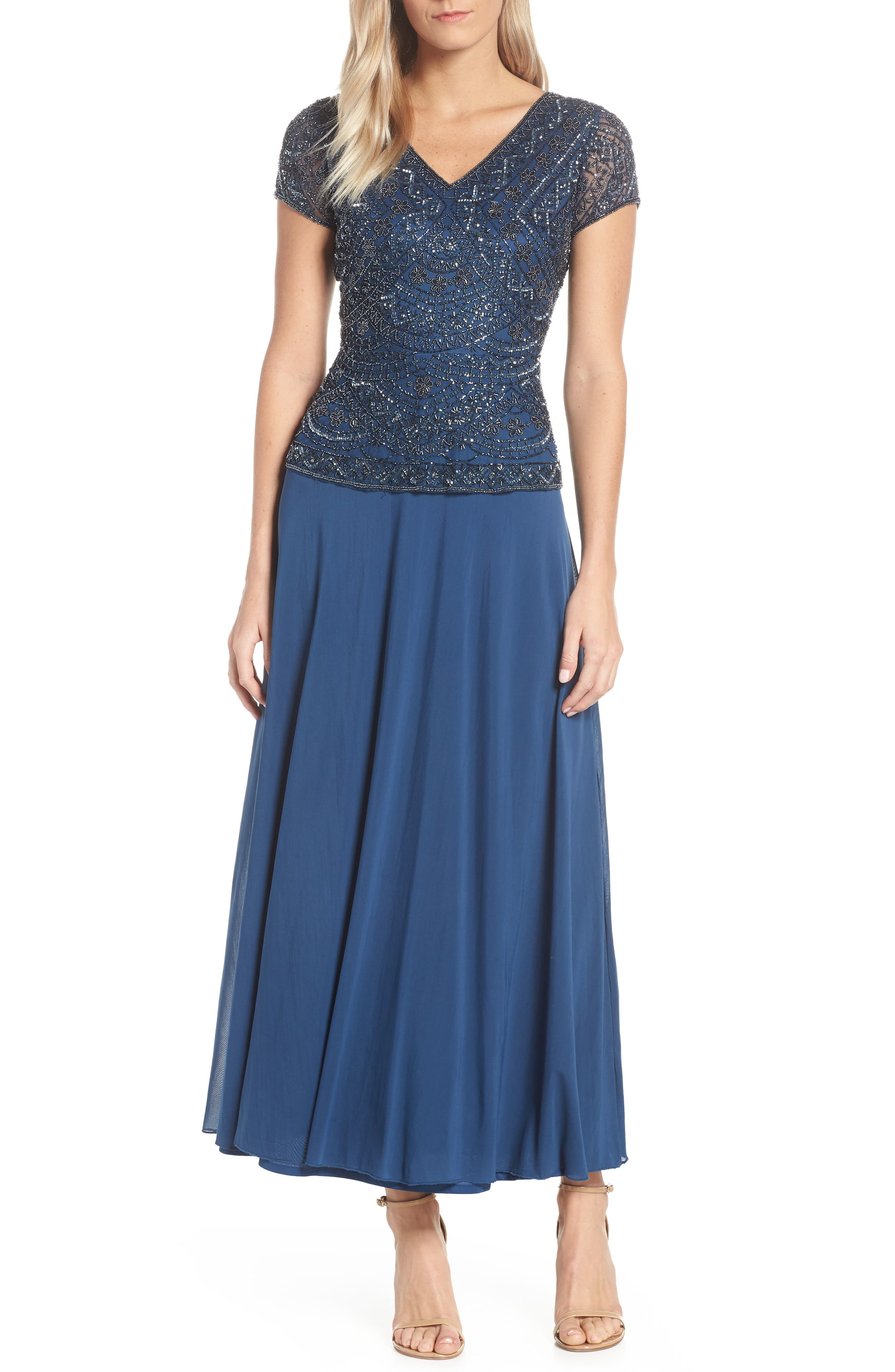 PISARRO NIGHTS Beaded V-Neck Mock Two-Piece Gown, Main, color, PETROL