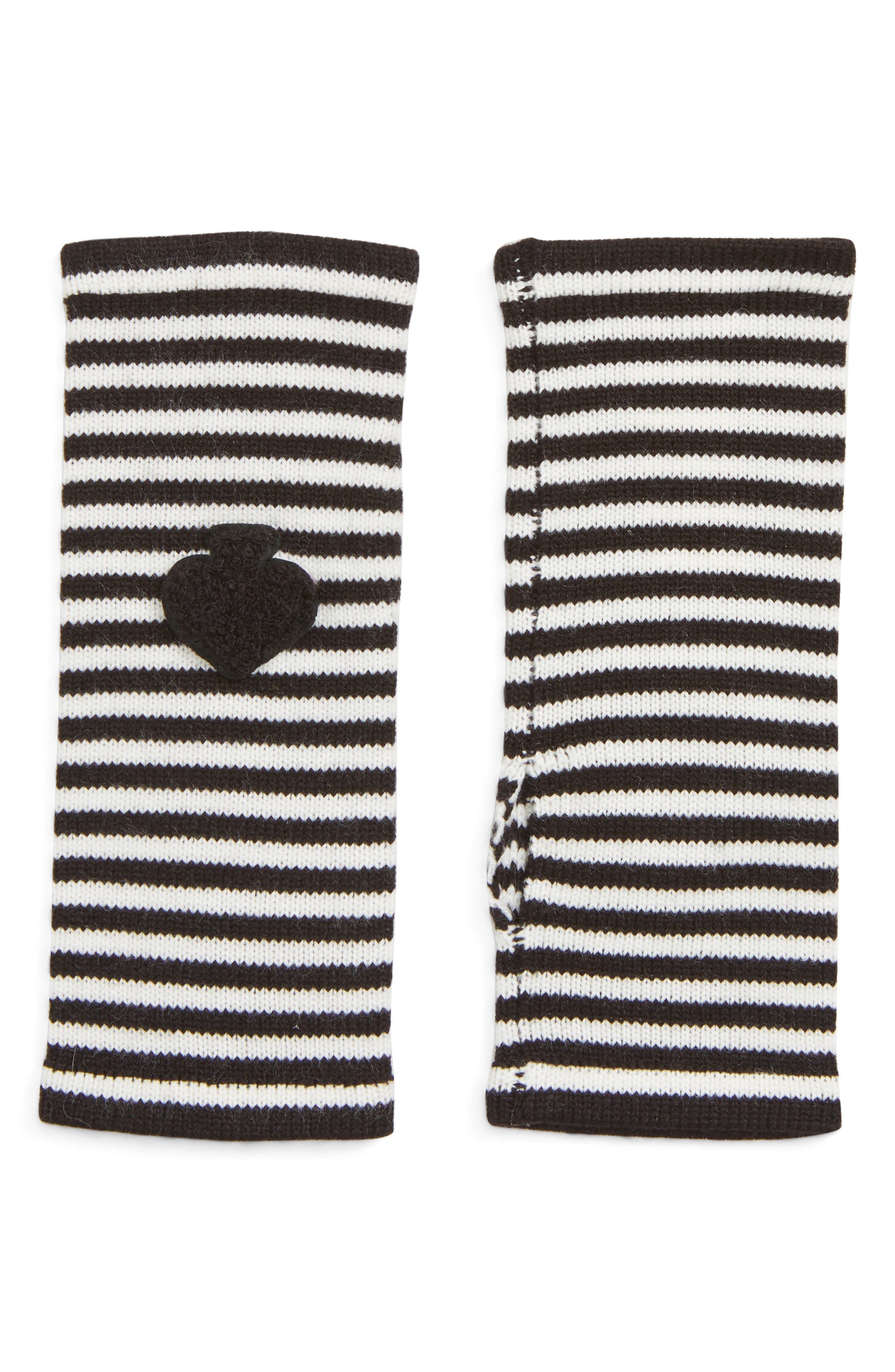 stripe arm warmers,                         Main,                         color, BLACK/ CREAM