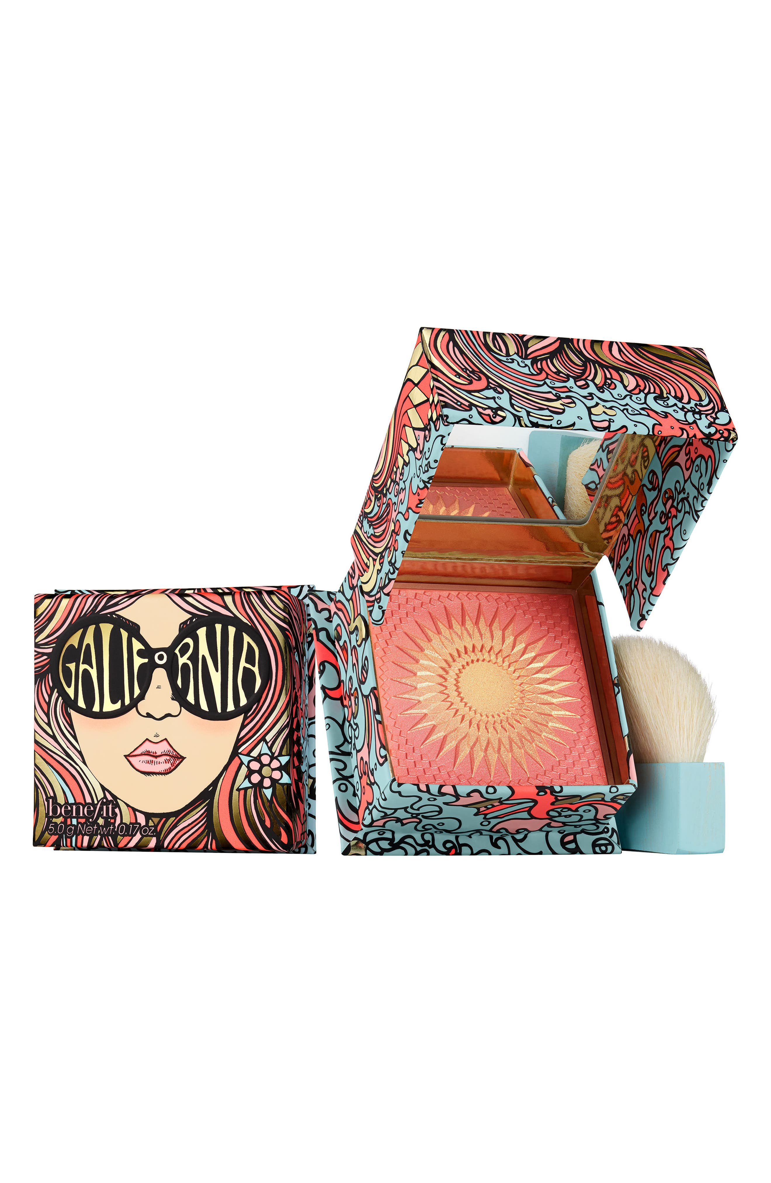 Benefit GALifornia Sunny Golden Pink Powder Blush,                         Main,                         color, SUNNY GOLDEN PINK