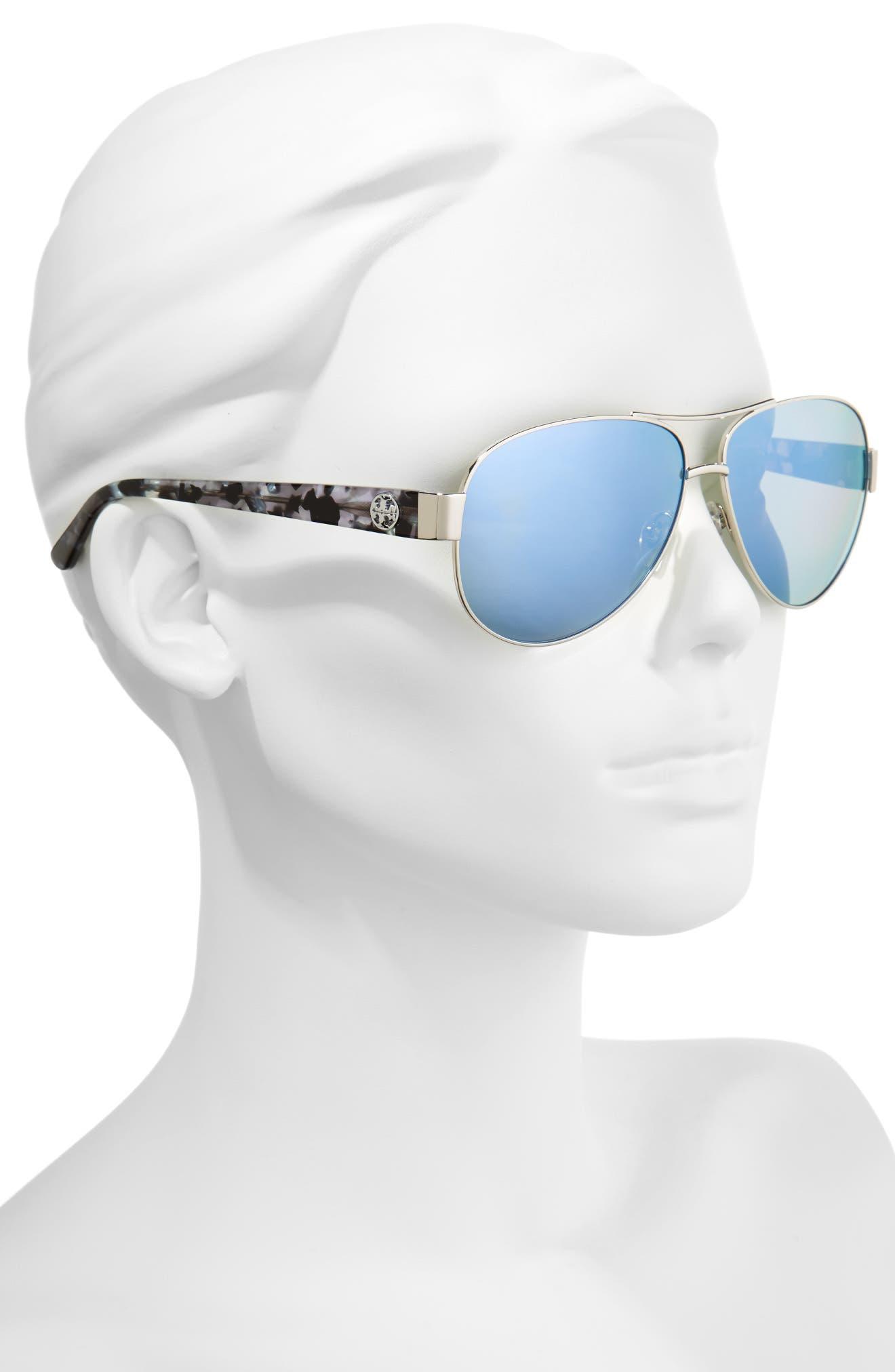 60mm Polarized Aviator Sunglasses,                             Alternate thumbnail 2, color,                             040