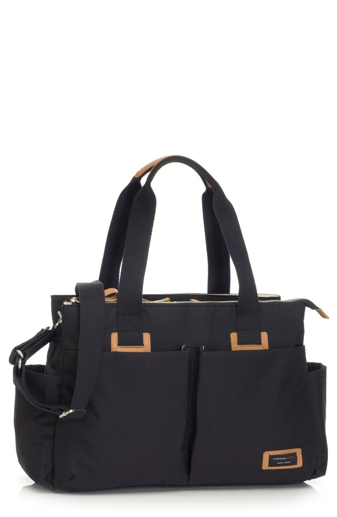 Diaper Shoulder Bag,                         Main,                         color, BLACK