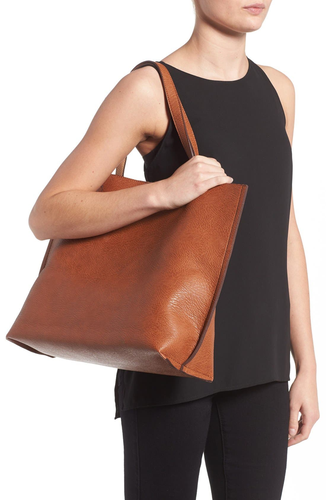 STREET LEVEL,                             Reversible Faux Leather Tote & Wristlet,                             Alternate thumbnail 6, color,                             COGNAC
