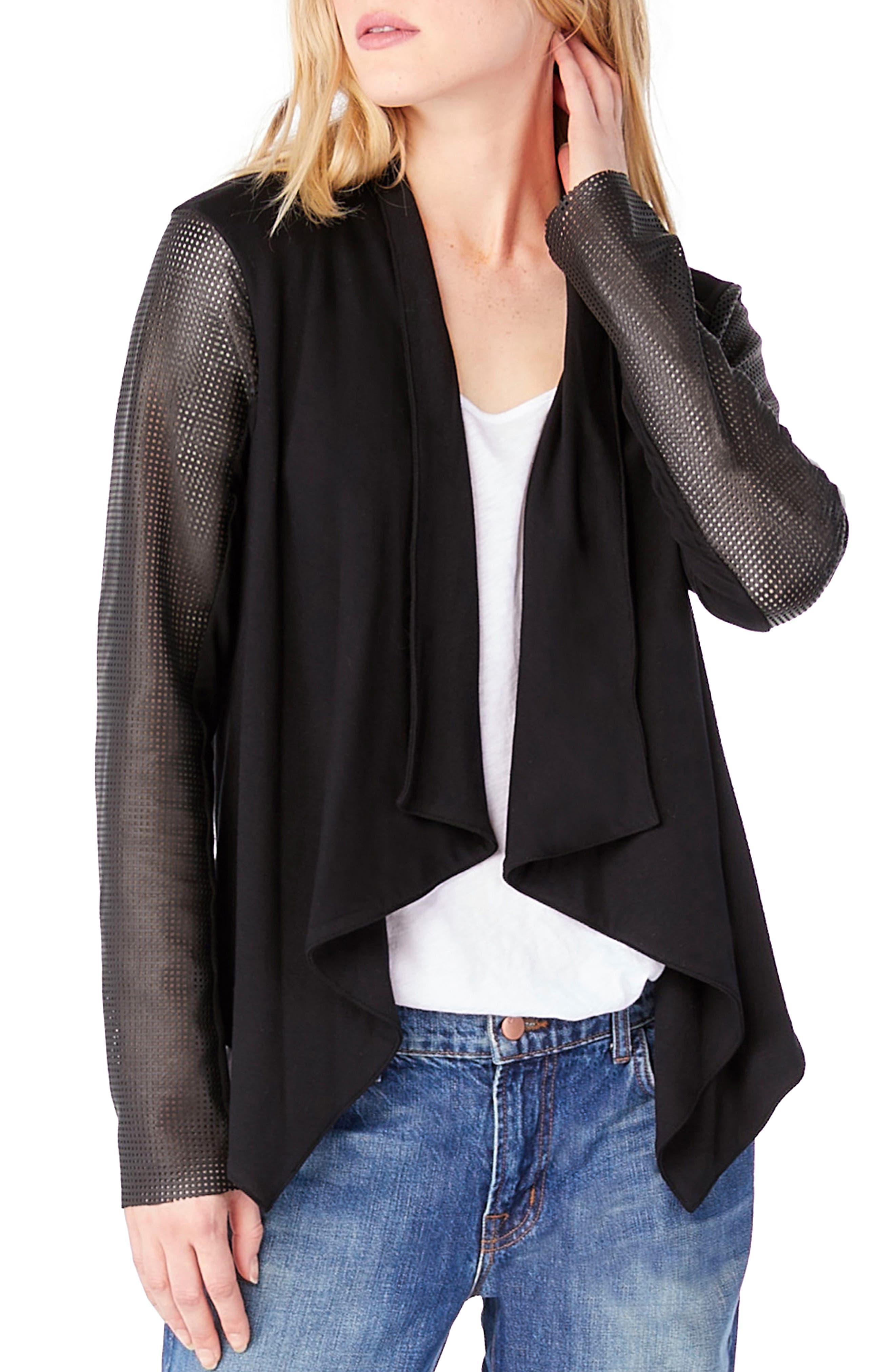 Leather Sleeve Draped Blazer,                             Main thumbnail 1, color,                             001