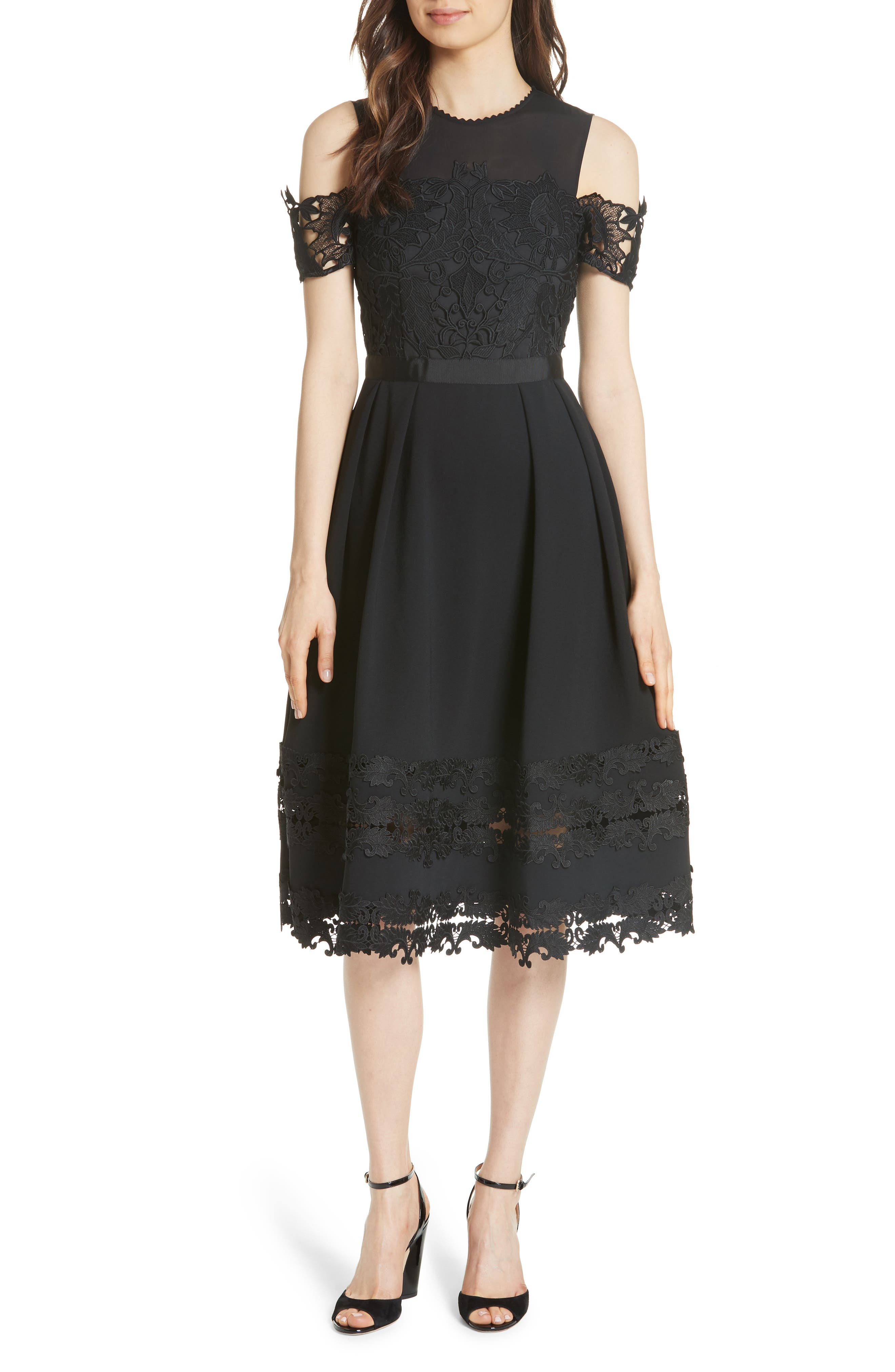 Structured Lace Cold Shoulder Midi Dress,                             Main thumbnail 1, color,                             BLACK