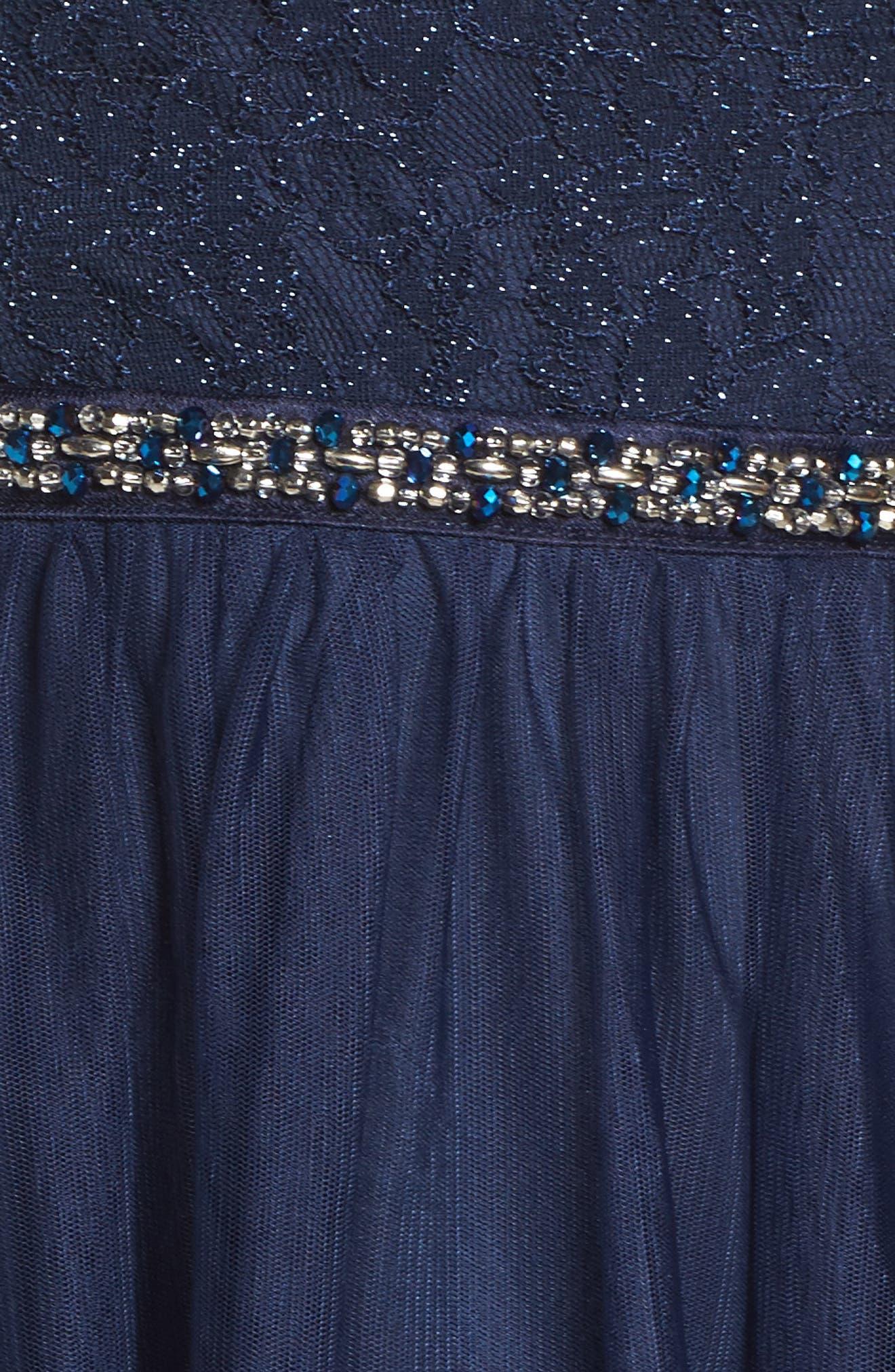 Glitter Lace Fit & Flare Dress,                             Alternate thumbnail 5, color,                             400