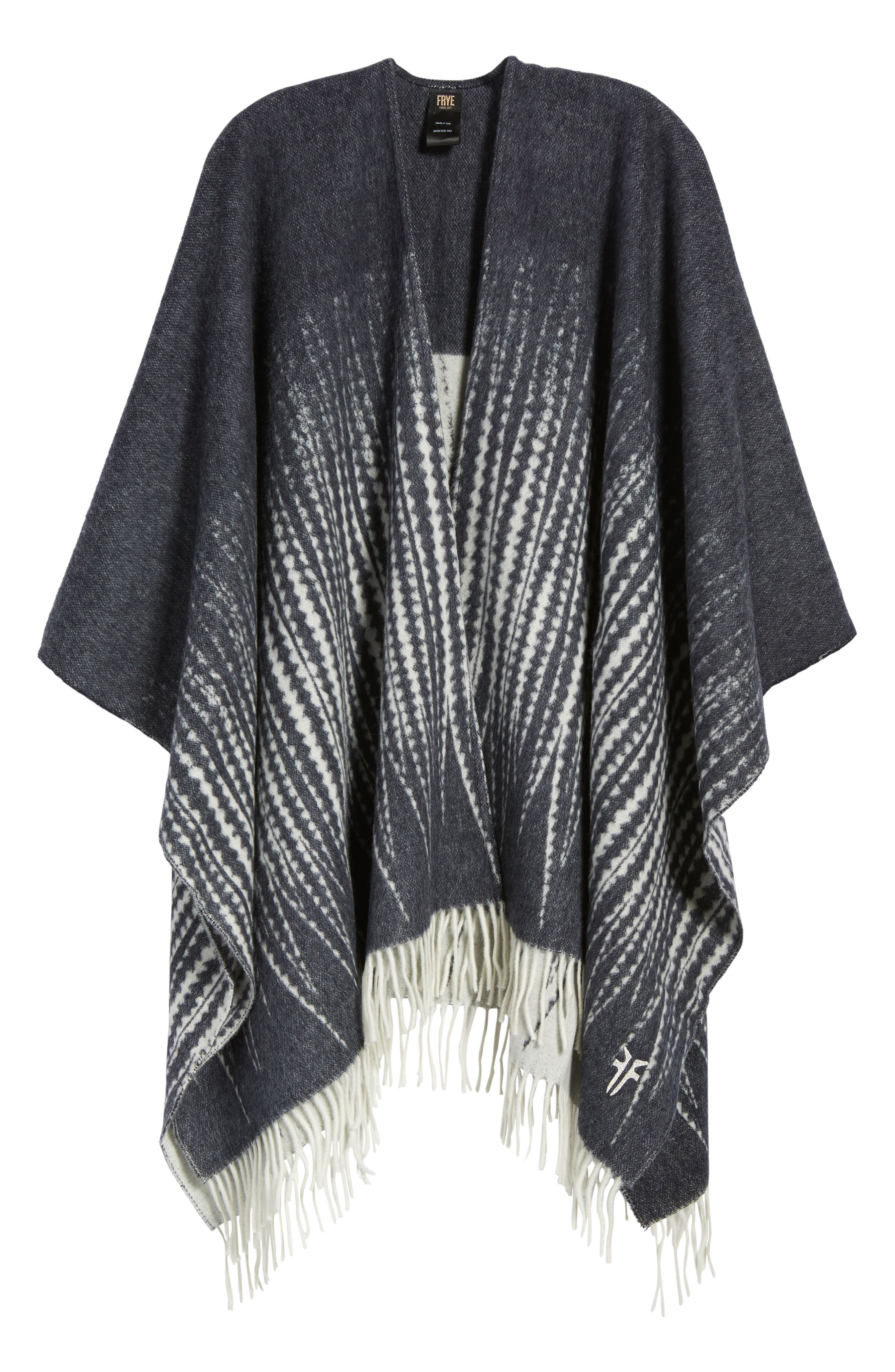 Feather Print Wool Wrap,                             Alternate thumbnail 6, color,