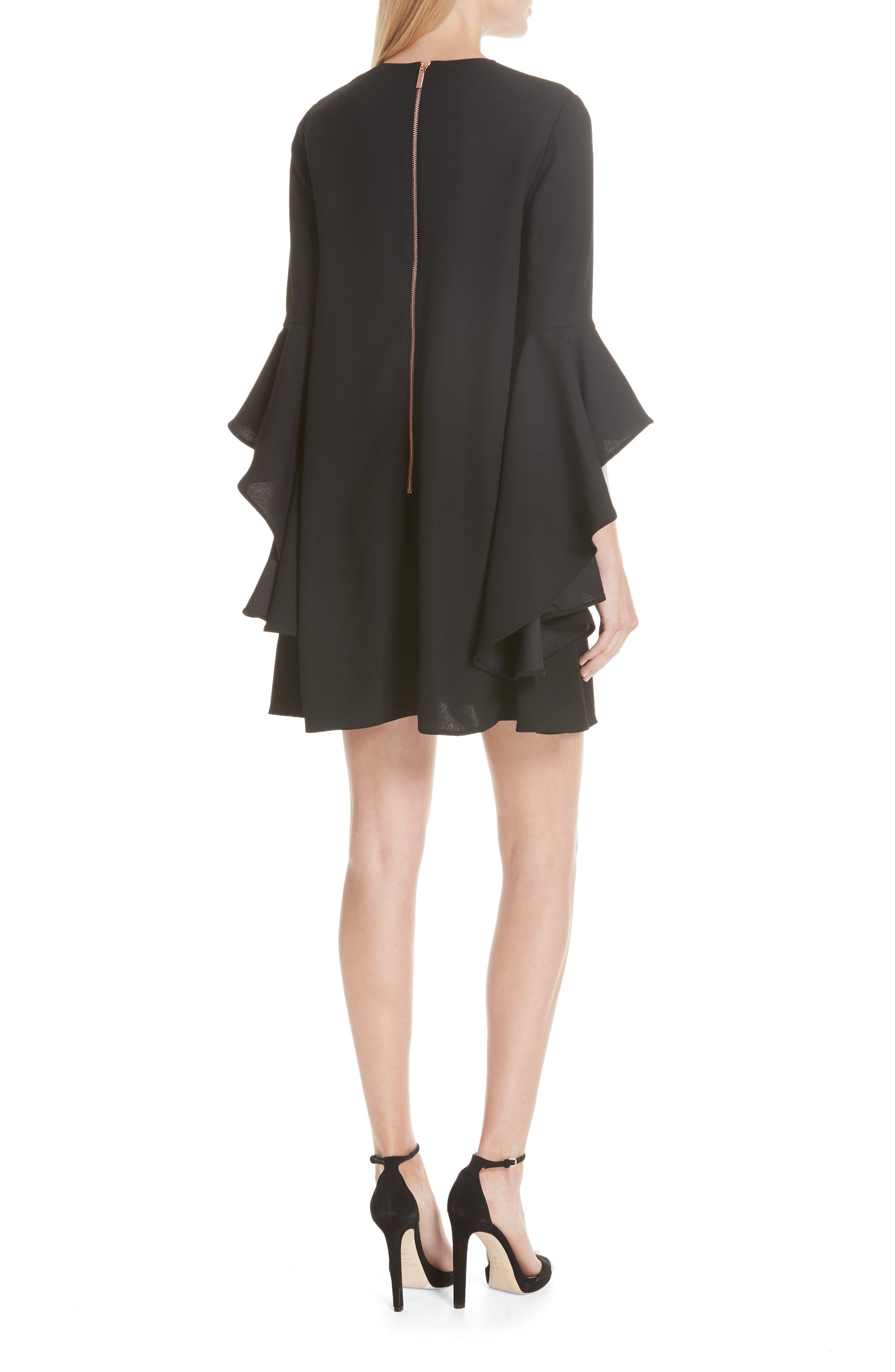 TED BAKER LONDON,                             Ashley Waterfall Sleeve A-Line Dress,                             Alternate thumbnail 2, color,                             001