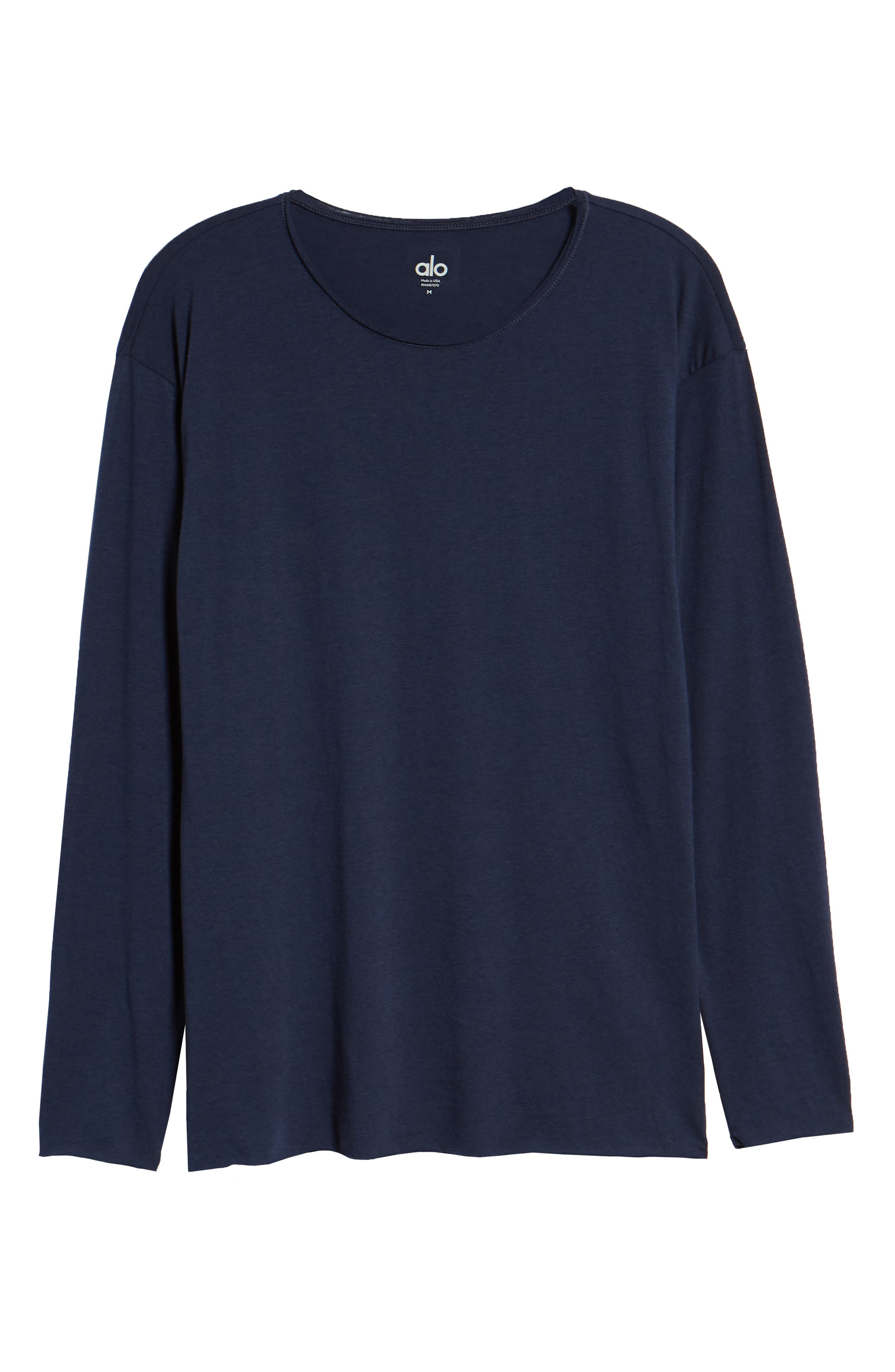 The Ultimate Long Sleeve Shirt,                             Alternate thumbnail 6, color,                             SOLID NAVY TRIBLEND