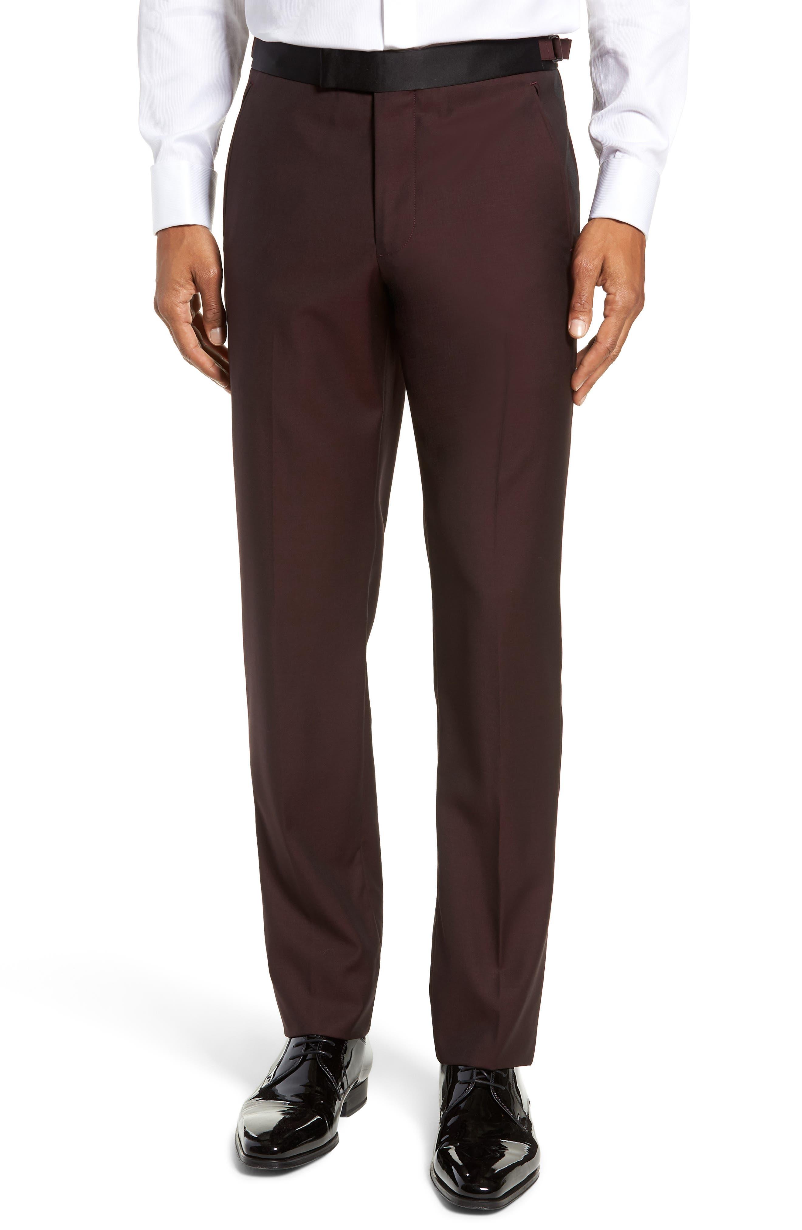 Capstone Slim Fit Tuxedo Trousers,                             Main thumbnail 1, color,                             MAROON