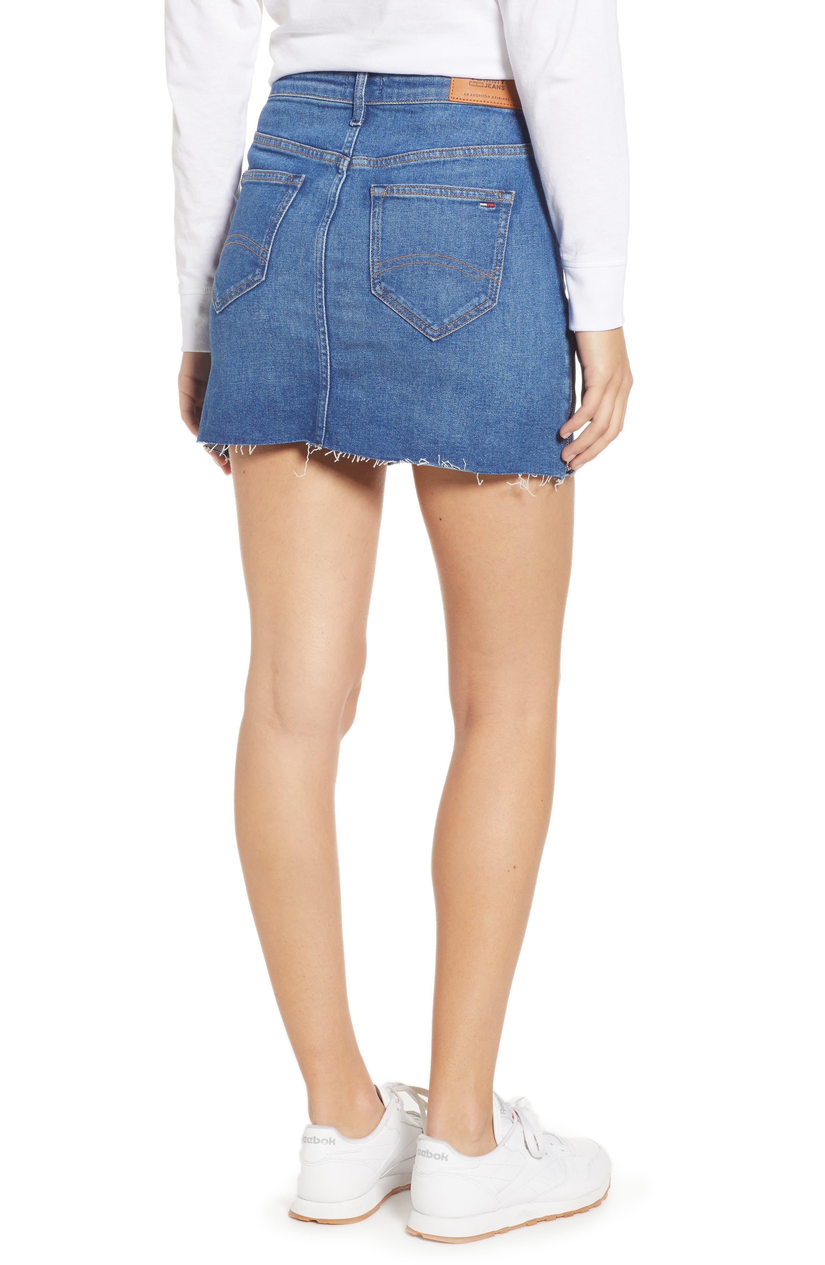 Denim Skirt,                             Alternate thumbnail 2, color,                             BIKER MID BLUE COMFORT