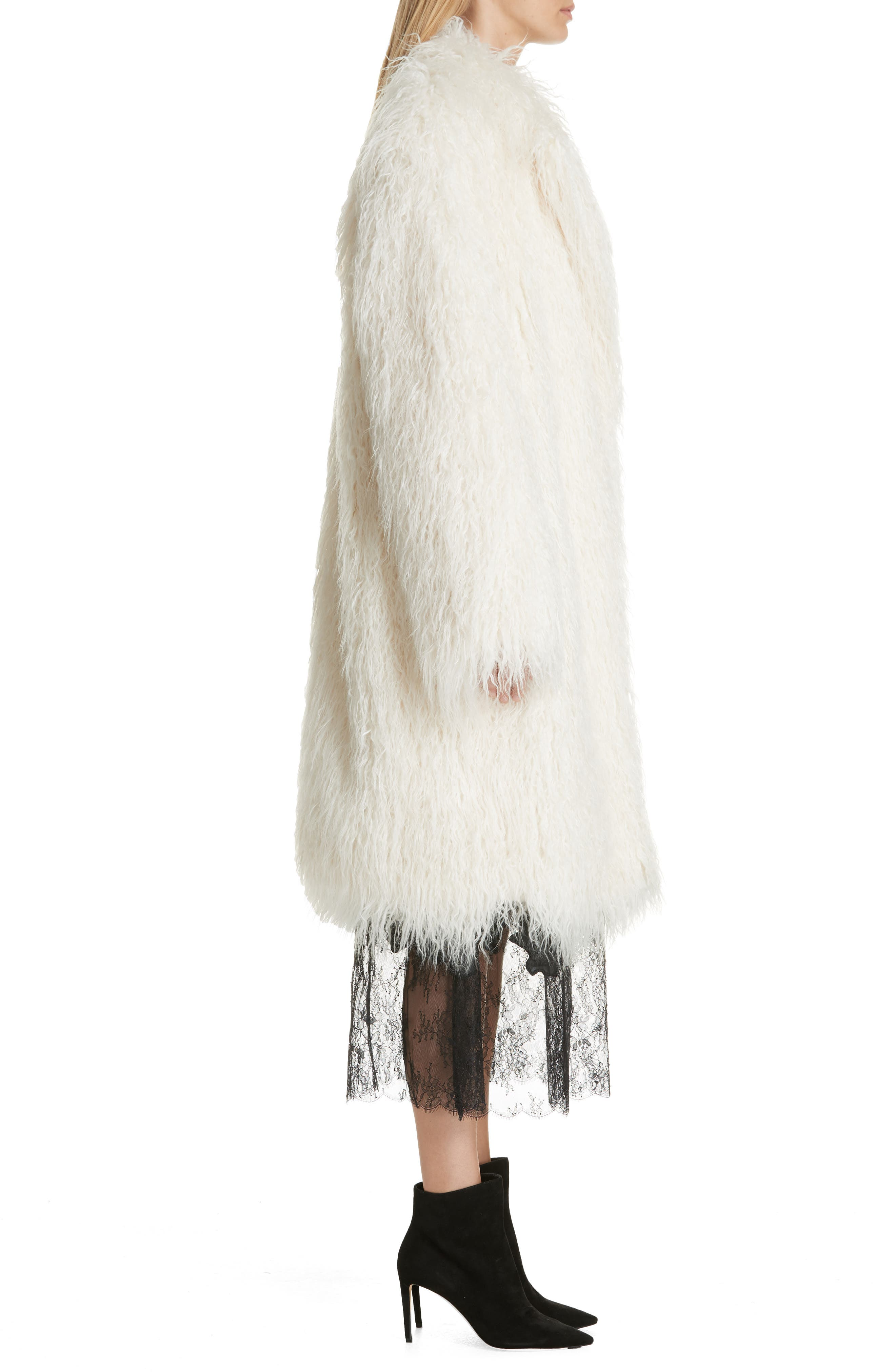 Mongolian Faux Fur Coat,                             Alternate thumbnail 3, color,                             IVORY