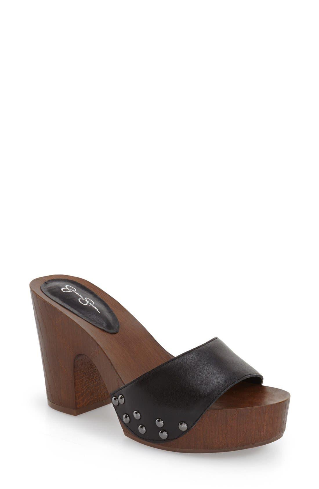 'Karema' Clog Platform Sandal,                             Main thumbnail 1, color,                             001