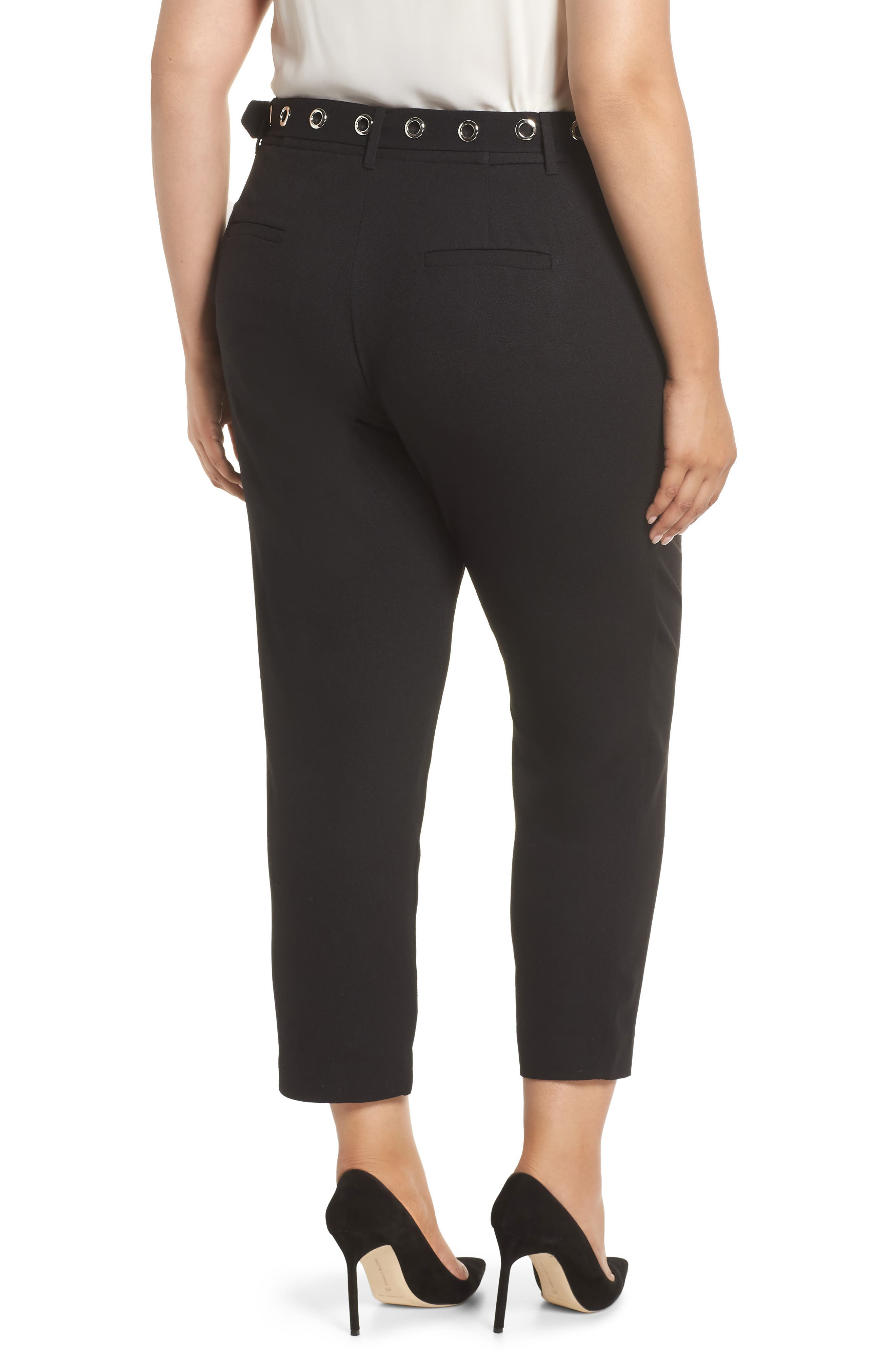 Grace Grommet Belt Pants,                             Alternate thumbnail 2, color,                             BLACK