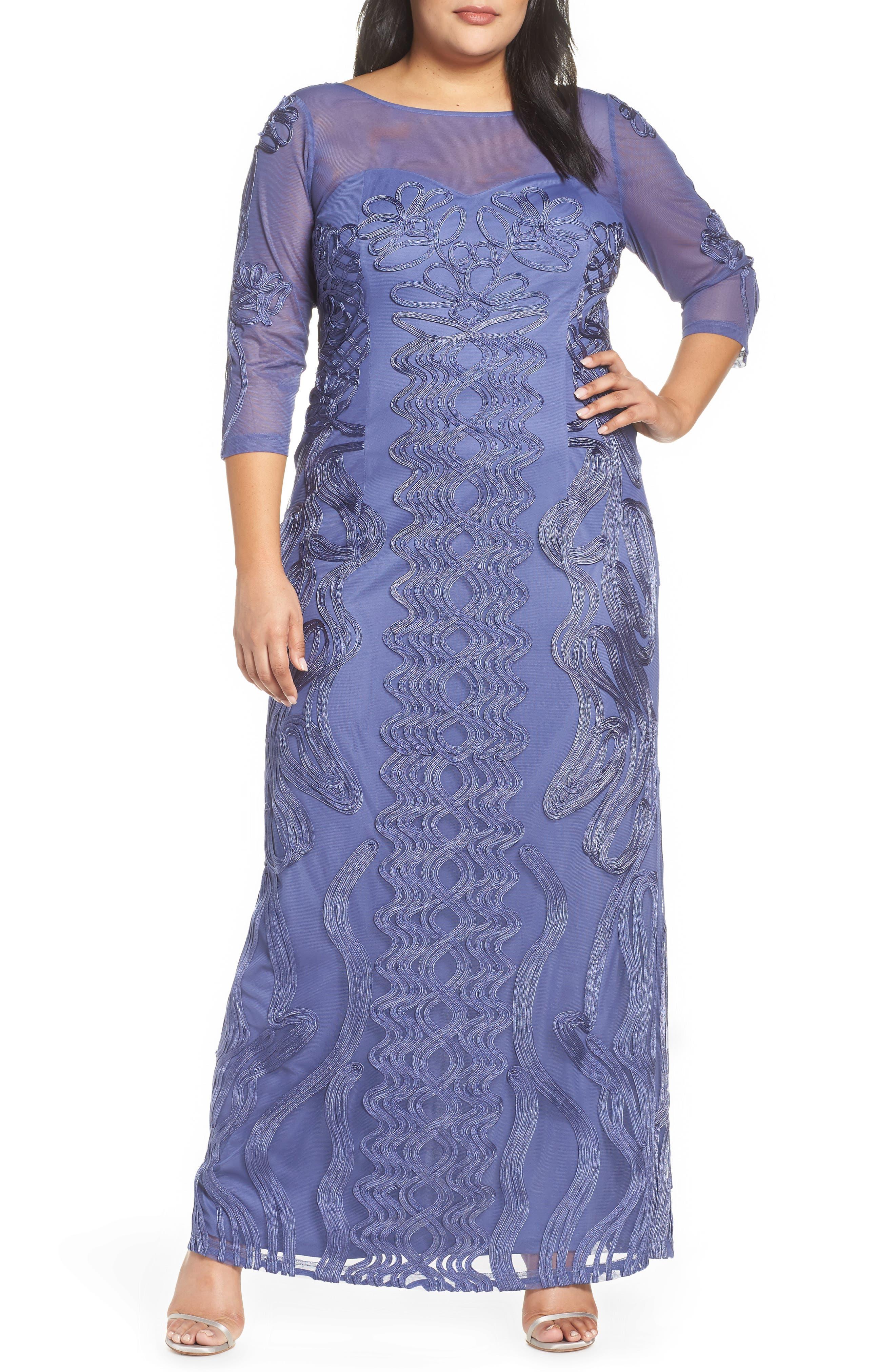 Plus Size Js Collections Soutache Trim Mesh Column Gown, Purple