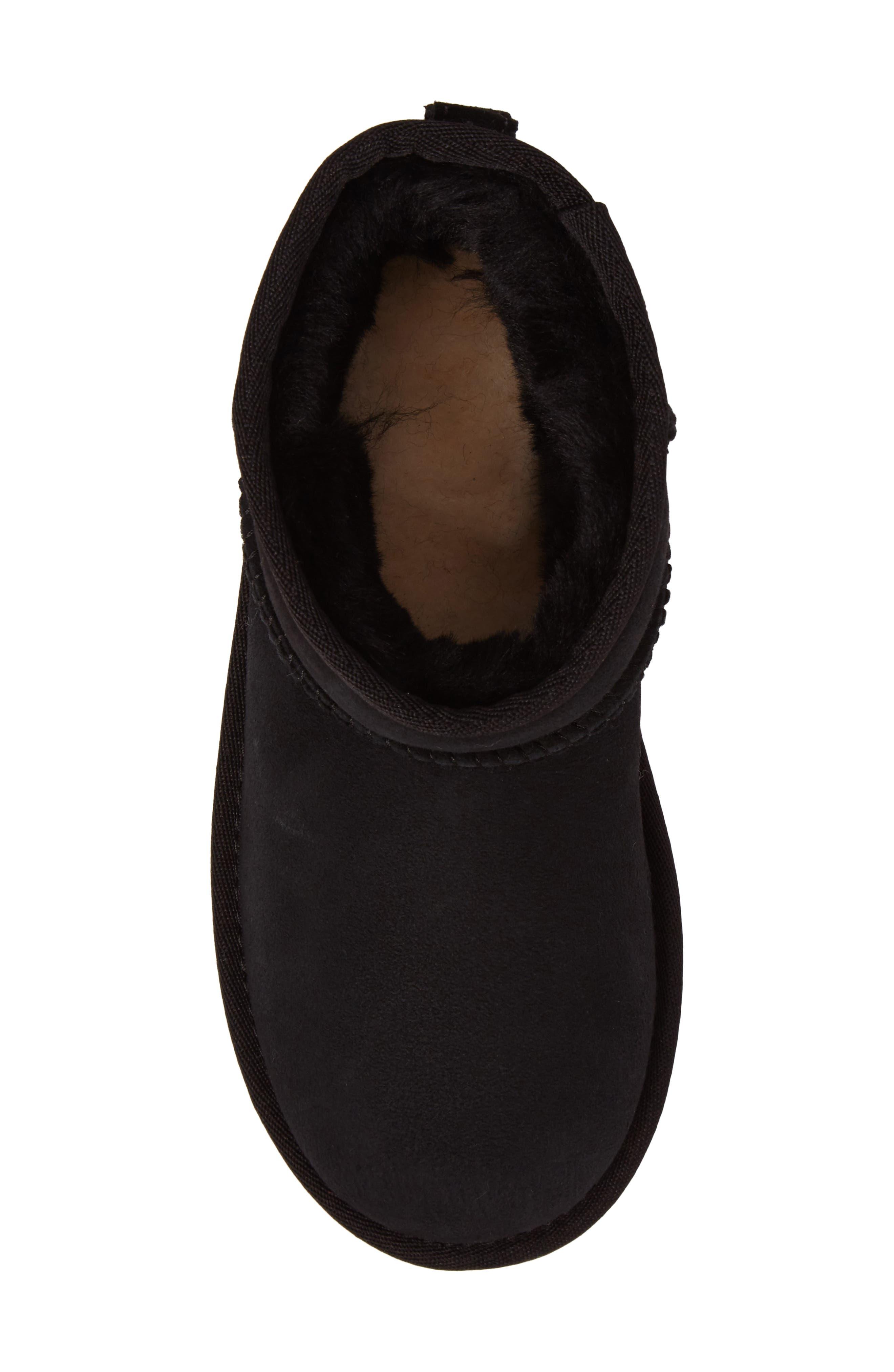 Classic Mini II Water-Resistant Genuine Shearling Boot,                             Alternate thumbnail 5, color,                             BLACK
